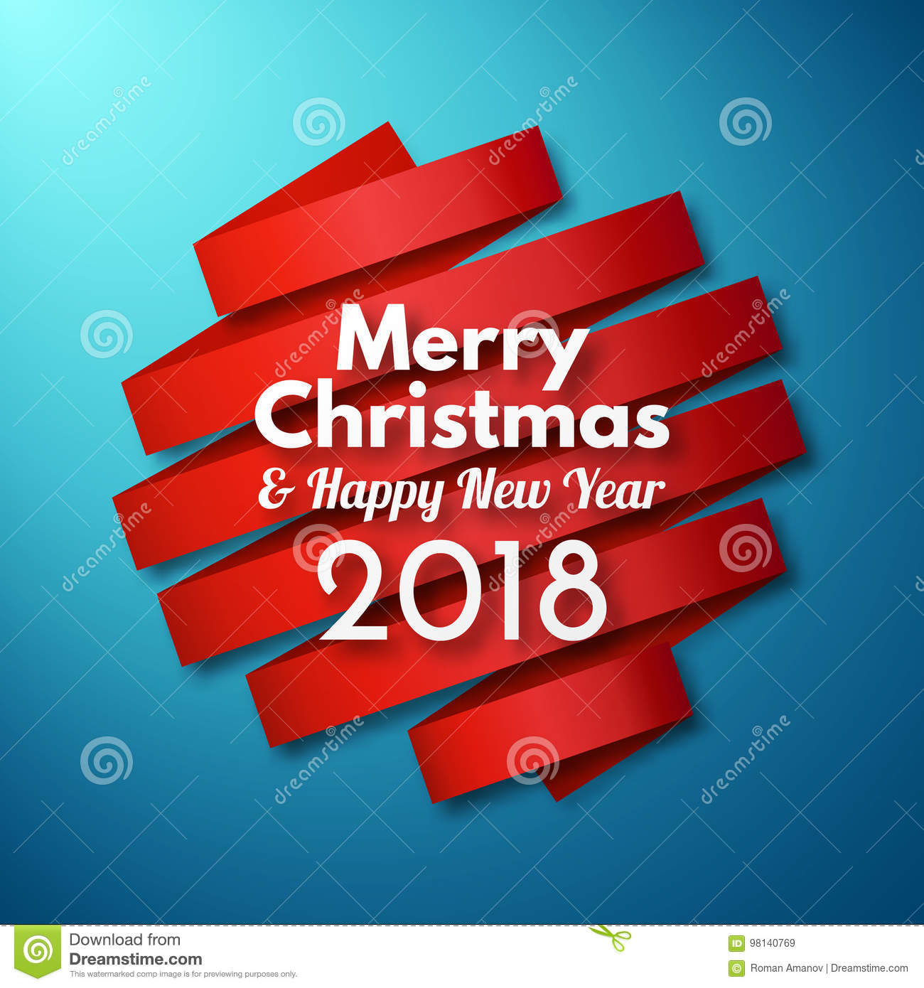 merry christmas and happy new year background with red ribbon and text