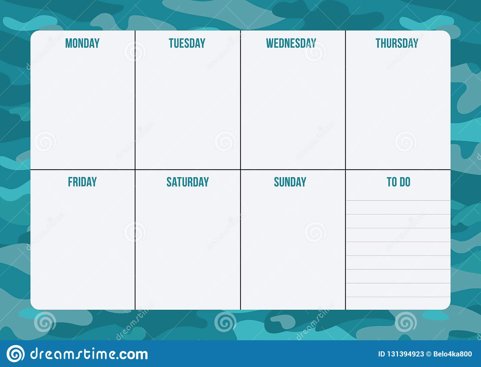 photograph relating to Weekly Planner Page identify Weekly Planner Web page With Space For Notes. Inventory Vector