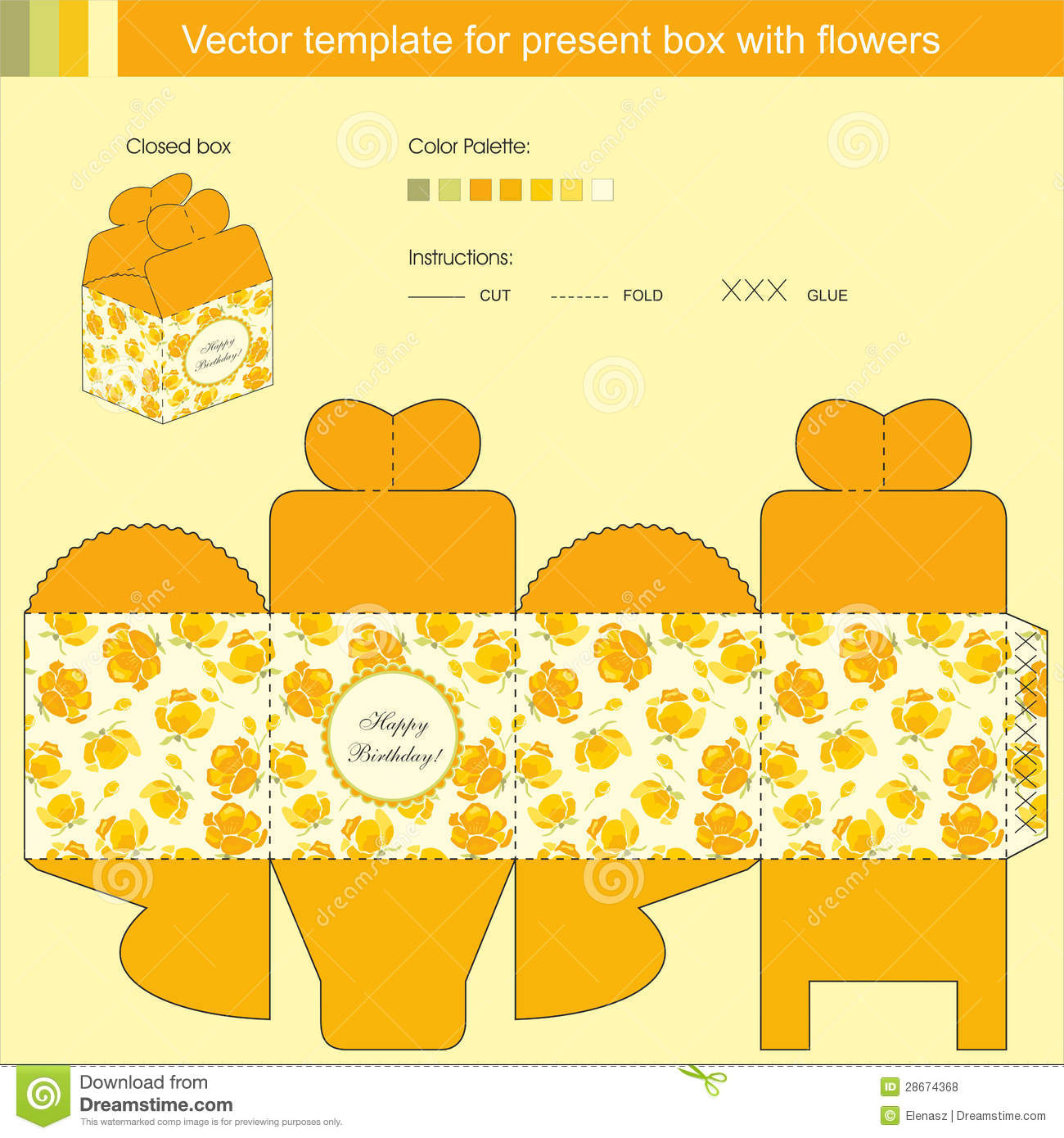 Vector Template For Present Box  Gift Box Template Free