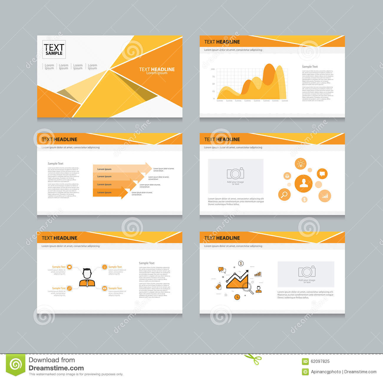 vector template presentation slides background design orange stock