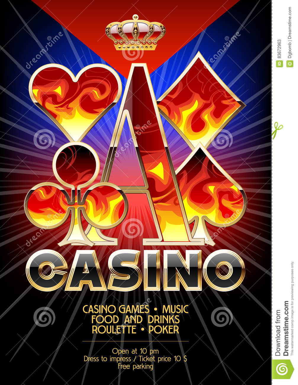 download vector template promo flyer for casino event with flame pattern stock vector illustration of