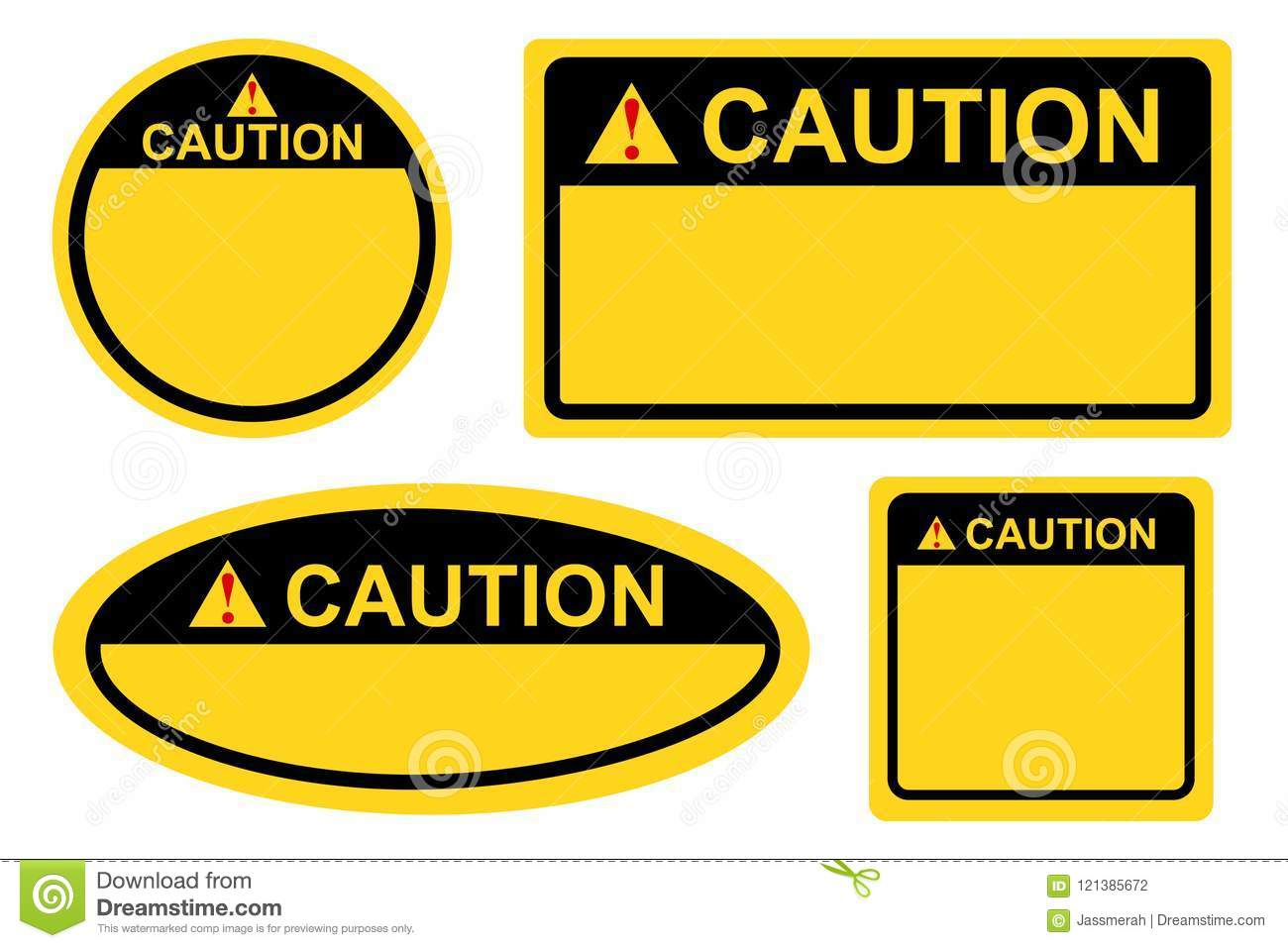 Template Rectangle Square And Oval Yellow And Black Blank Caution - Caution sign template