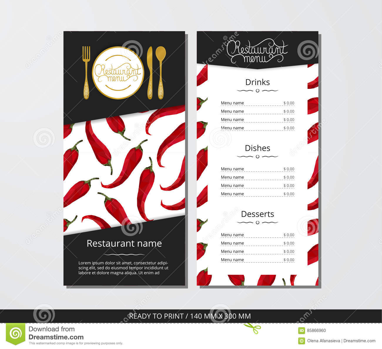 Vector Template Restaurant Menu With Gold Cutlery And Pattern Pepper