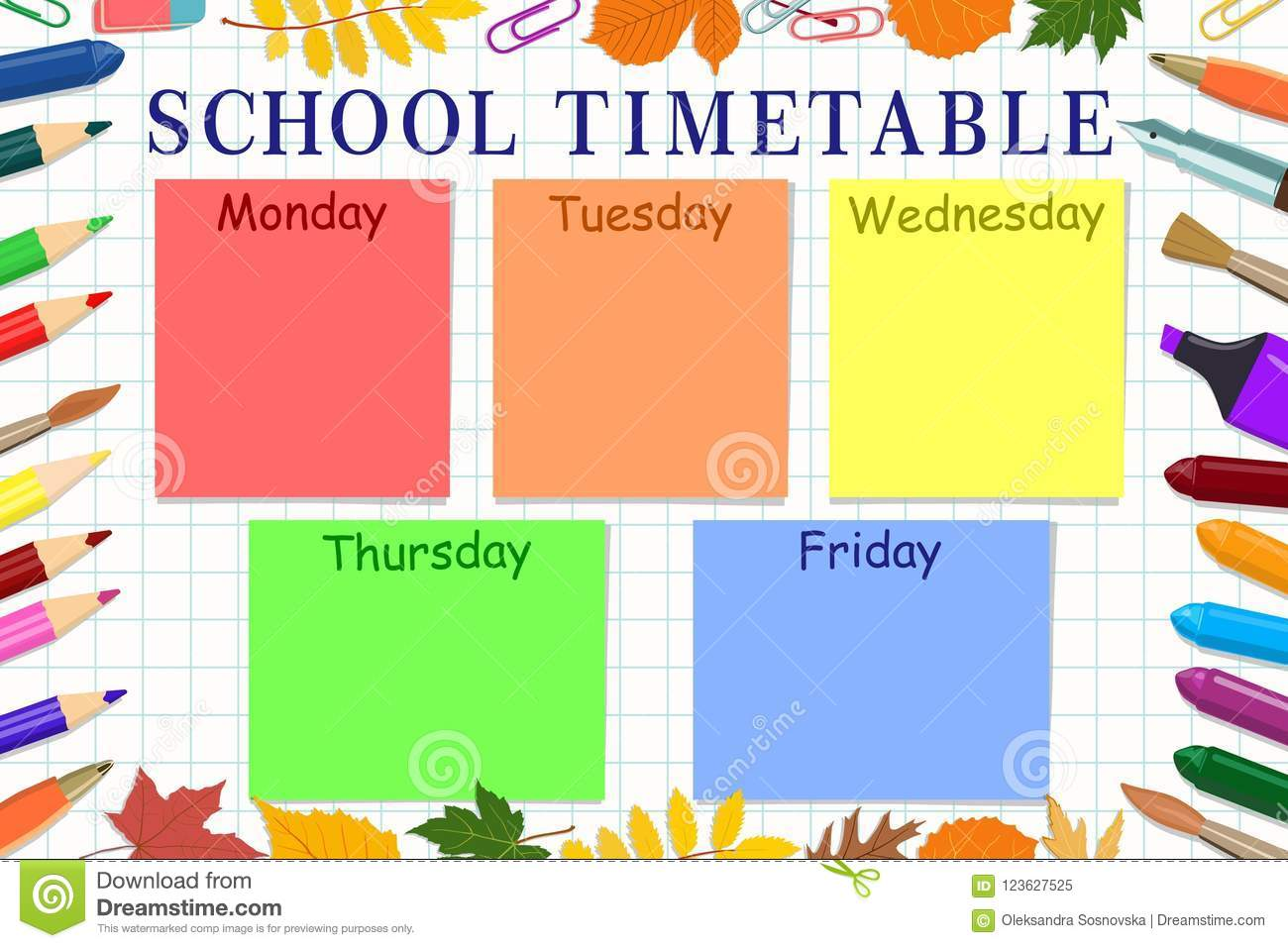 template school timetable for students or pupils vector