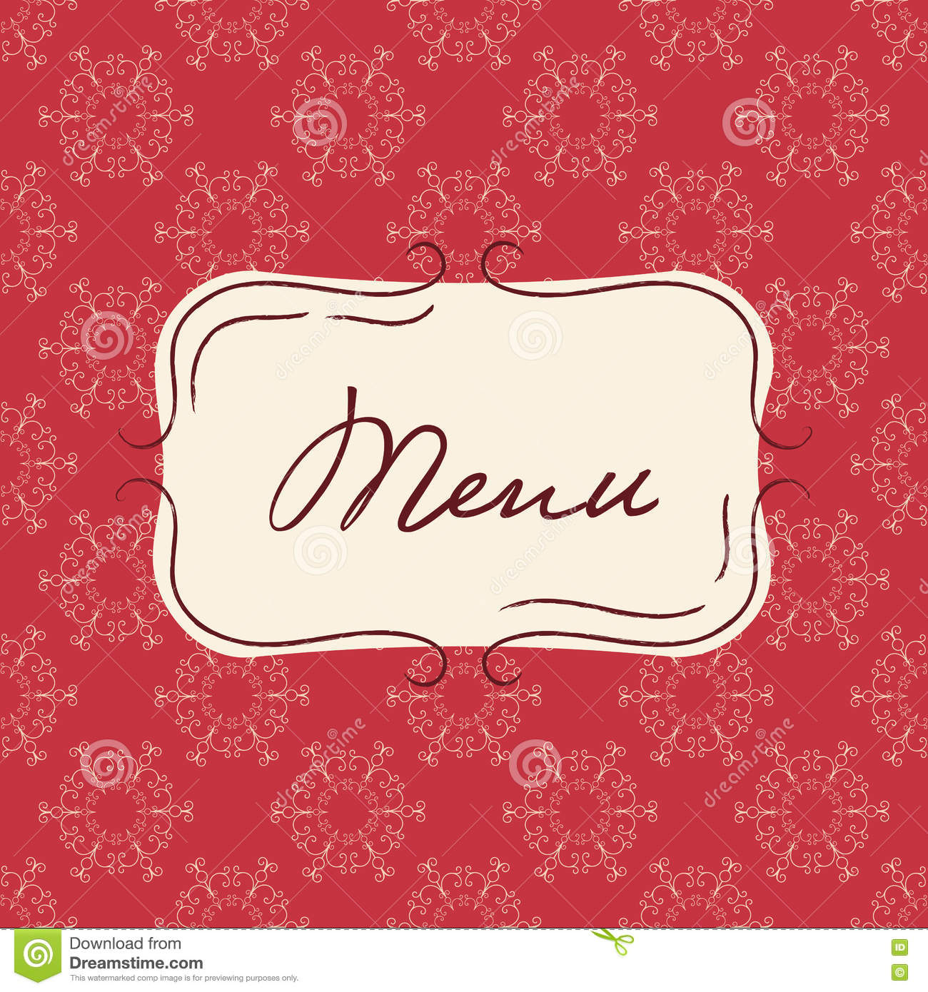 Vector Template Of Vintage Menu. Seamless Background With Hand Drawn ...