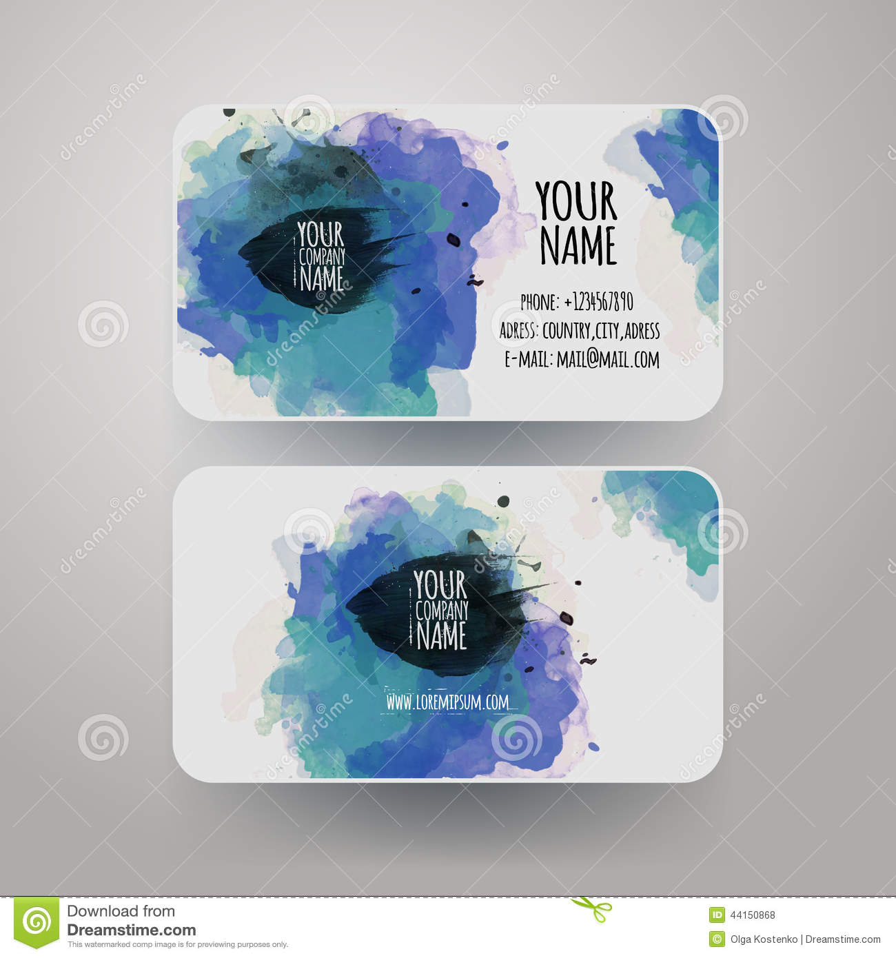 vector template watercolor business cards stock vector  image