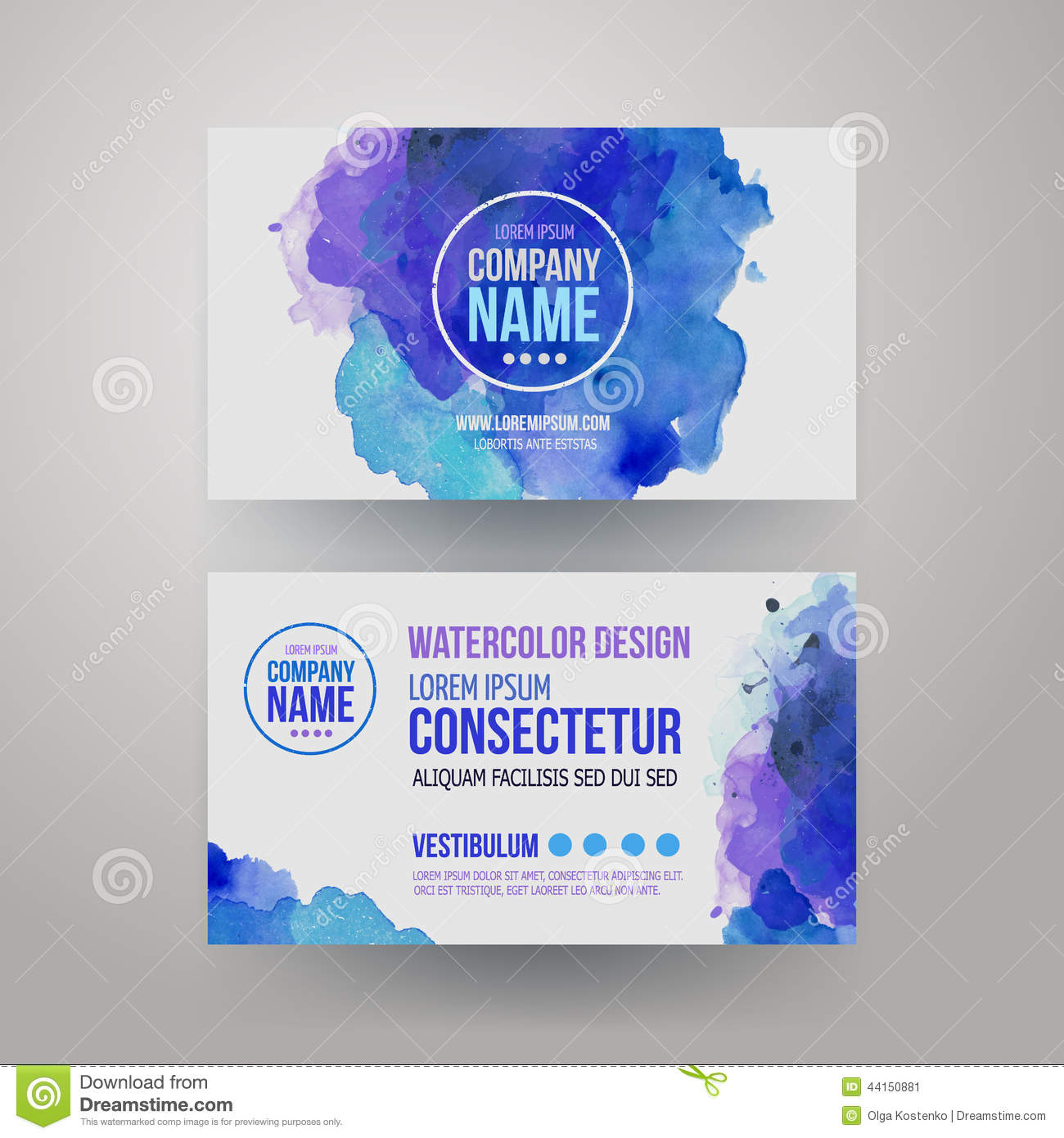 Vector template watercolor business cards stock vector vector template watercolor business cards name idea reheart Choice Image