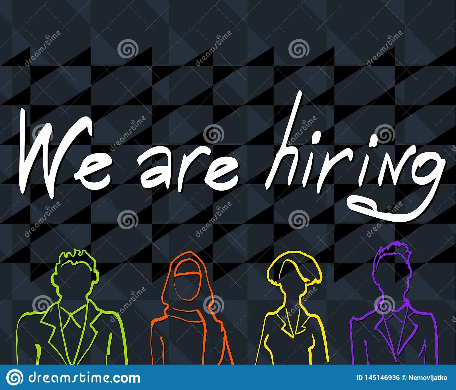 Vector template with the words We are hiring
