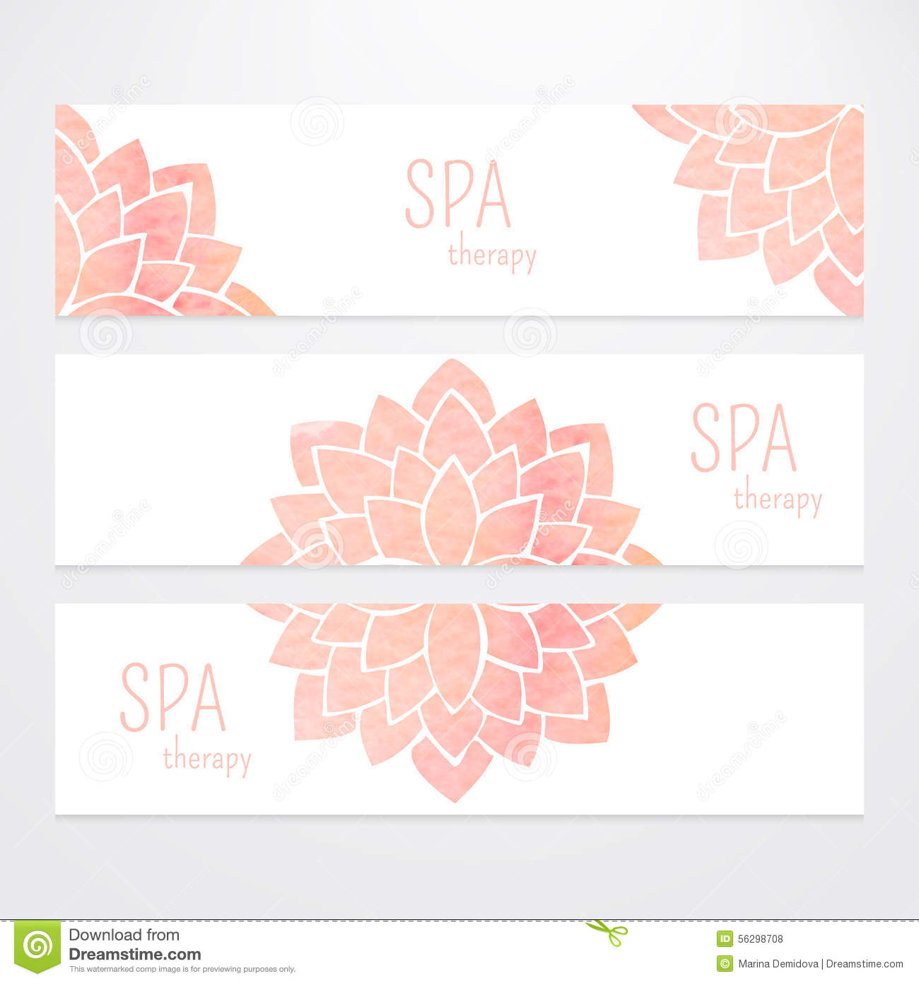 ... Vector templates of banners with watercolor pink lotus flower mandala