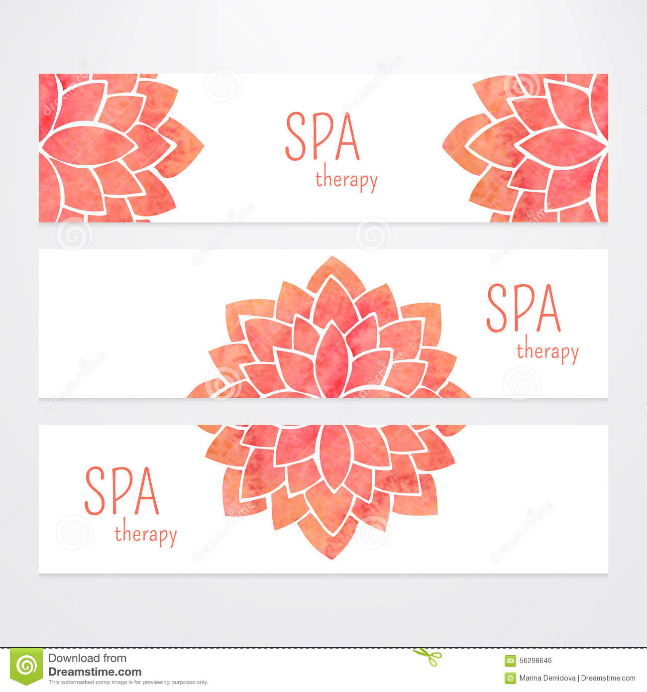 Vector Templates Of Banners With Watercolor Red Lotus ...