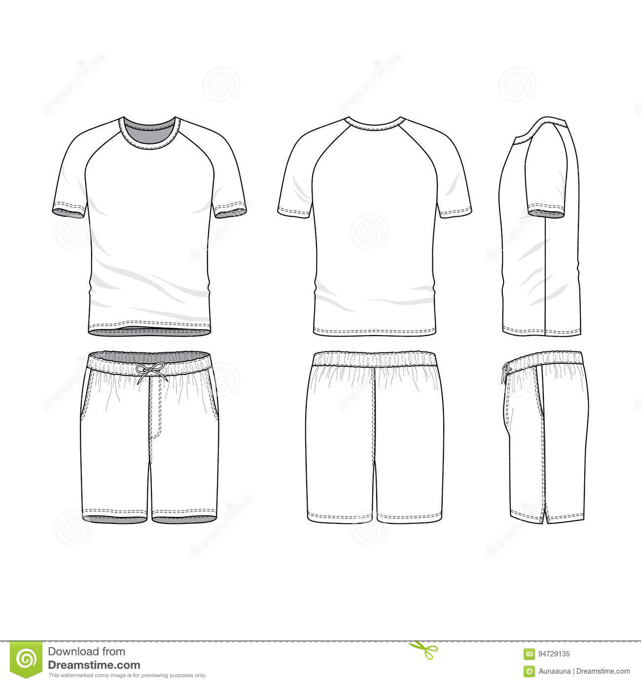 vector templates of blank t shirt and shorts stock vector
