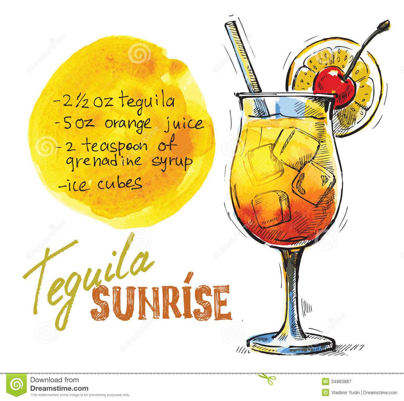 Vector Tequila Sunrise Royalty Free Stock Photography - Image ...