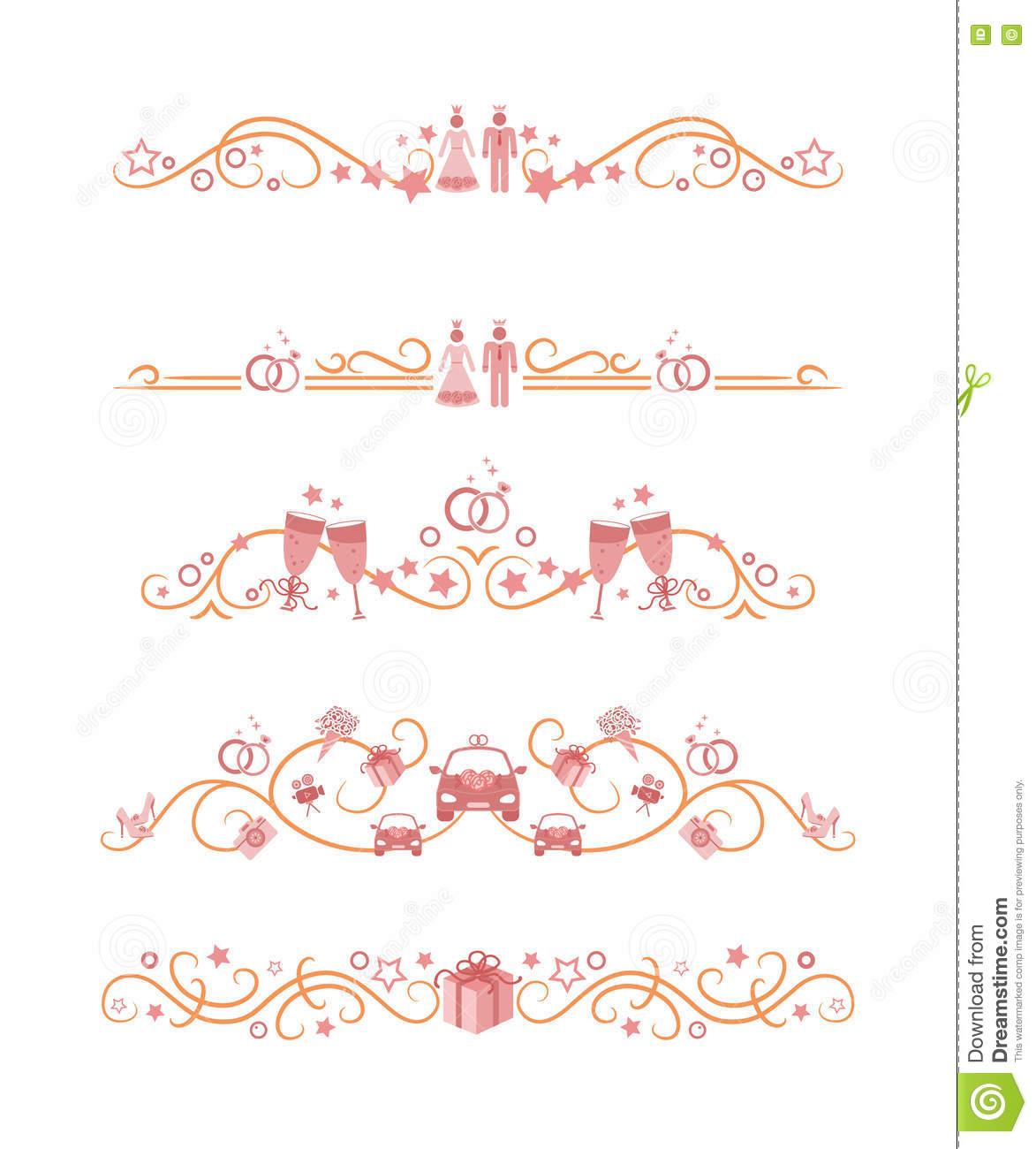 Vector text dividers with wedding theme objects stock vector download comp junglespirit Gallery