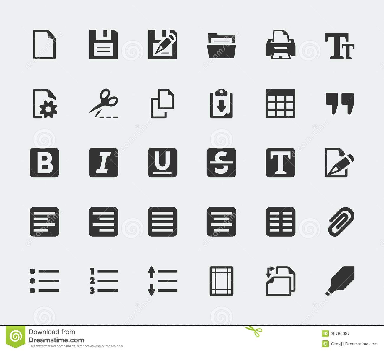 Vector Text Editor Icons Set Stock Vector Image 39760087
