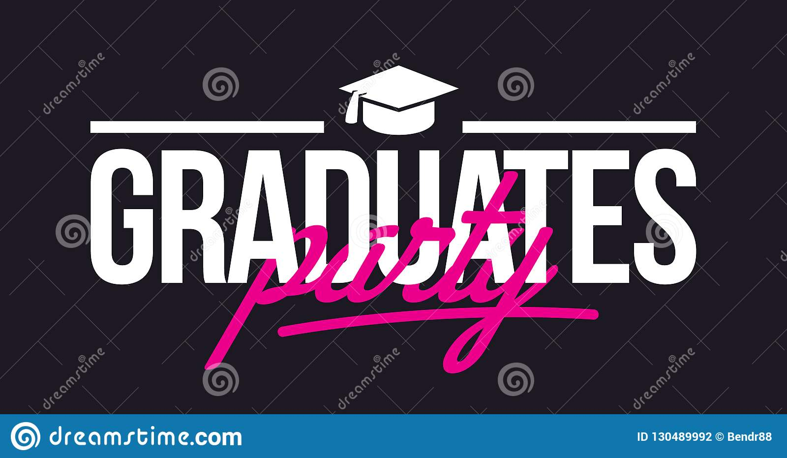 graduates party congratulations lettering stock illustration