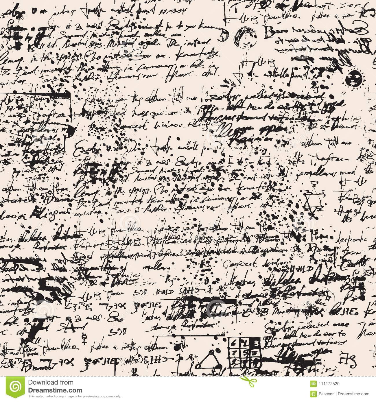 Medieval Papyrus With Blots And Scribbles Stock Vector