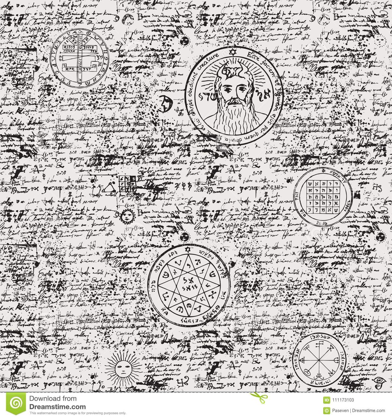 Seamless Pattern Manuscript With Occult Symbols Stock Vector