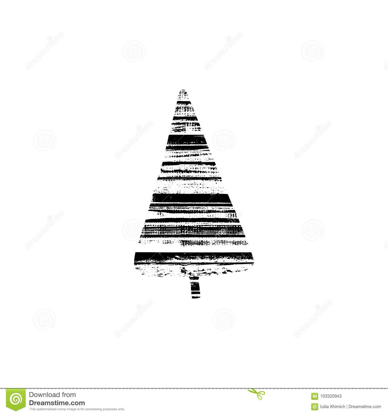 Vector Textured Christmas Tree Stylized Imprint On Wood Planks Black White Isolated Element For Holiday Cards Or Stamp Brushes Creating