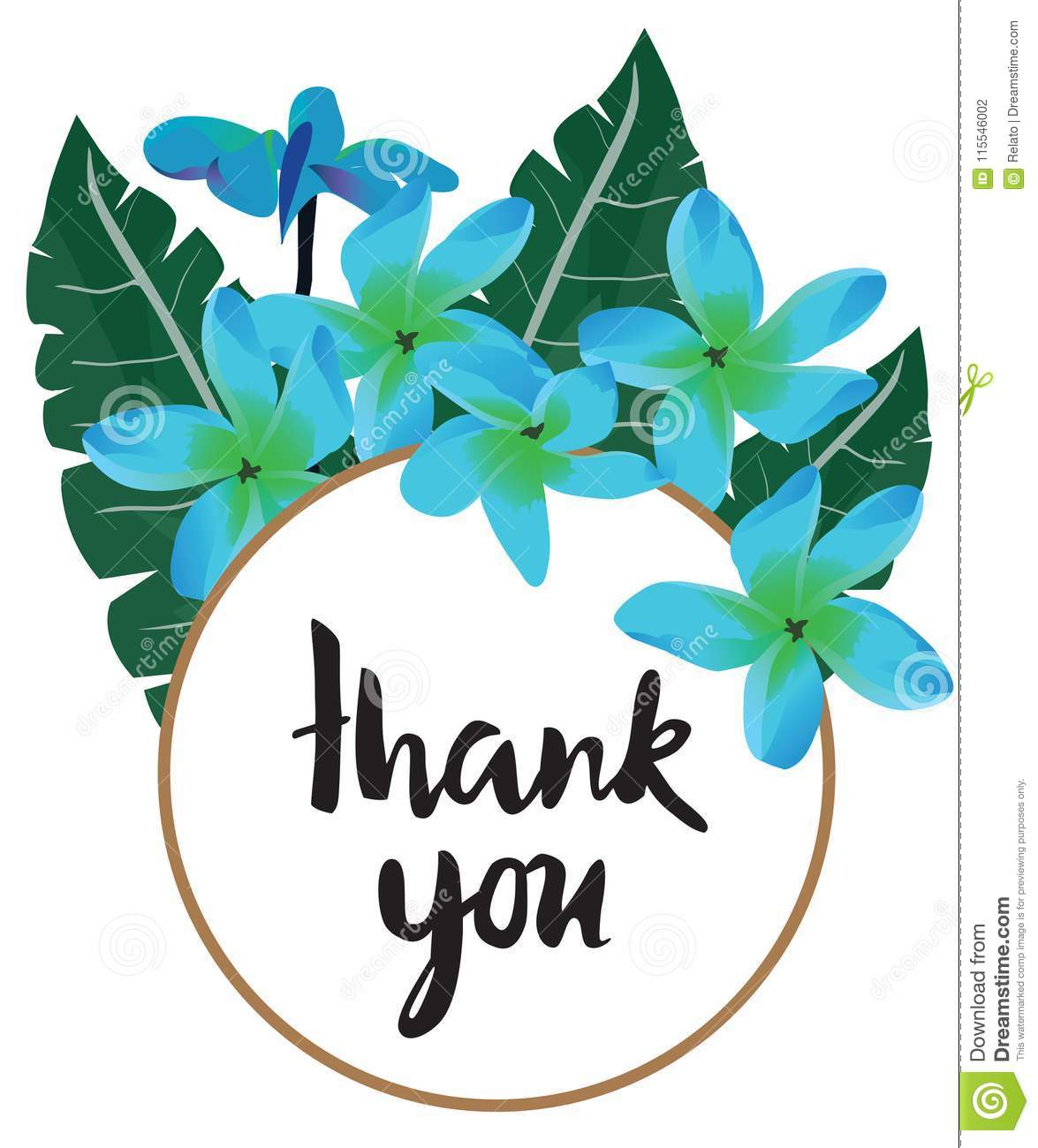 Vector Thank You Card With Tropical Flowers Stock Vector