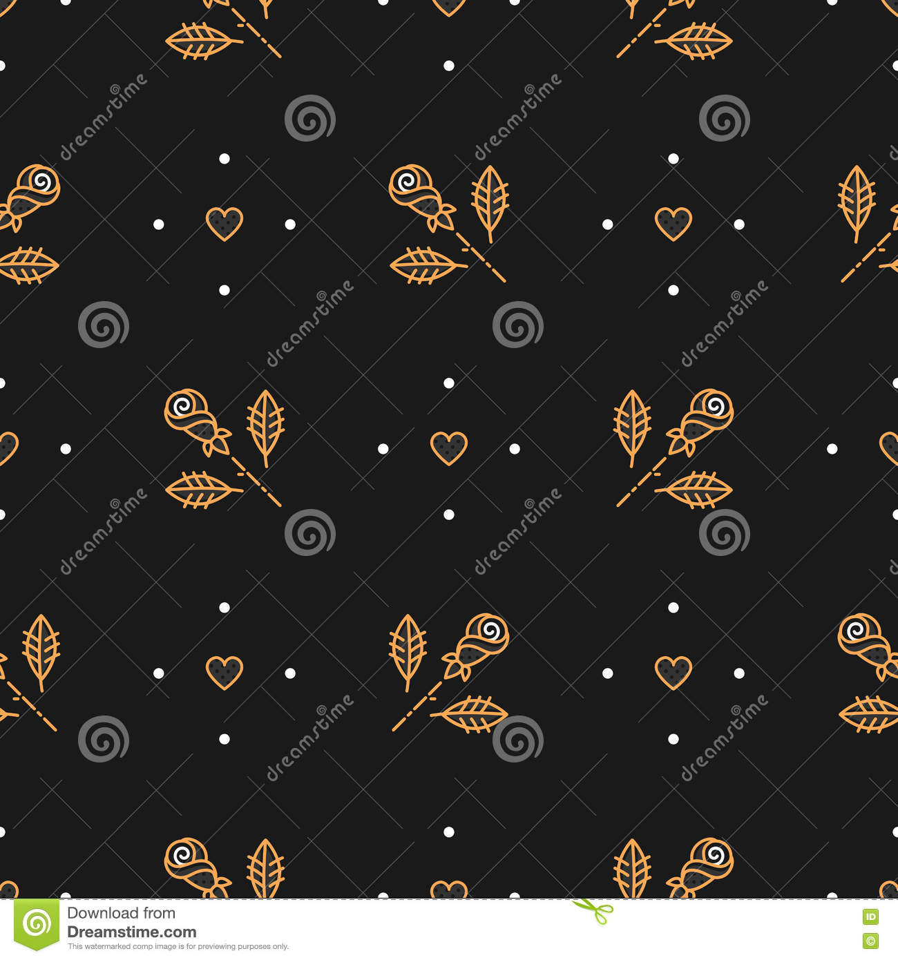 2ed1209e1887 Thin line art seamless pattern of gold roses and hearts on a dark  background. Elegant minimal design floral ornament. Cover template or  invitation card in ...