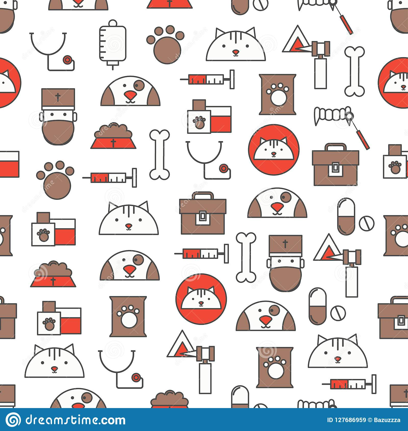 Vector seamless pattern with veterinary care symbols. Thin line art flat style design vet clinic services background, wallpaper.