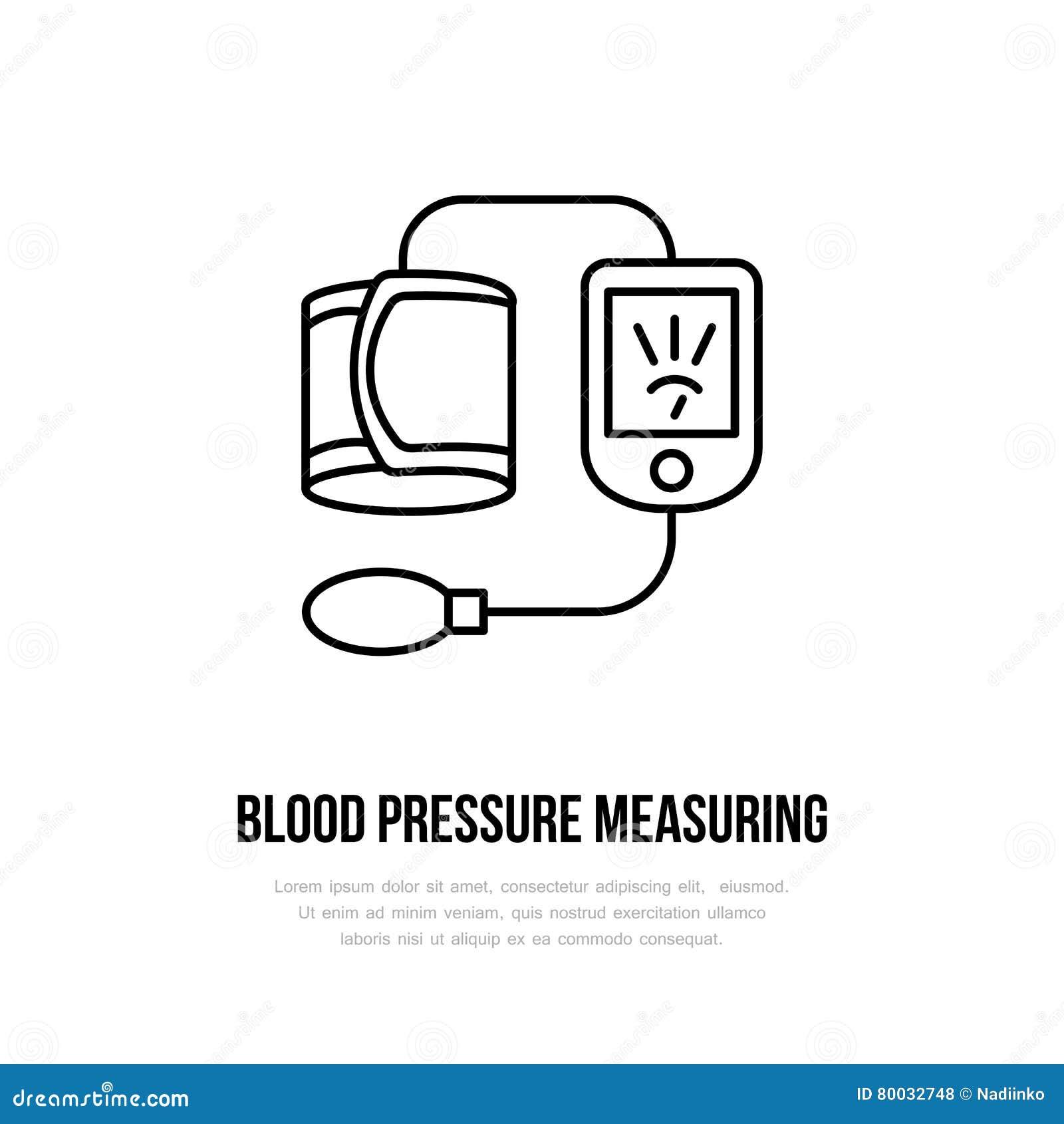 Vector thin line icon of blood pressure measurement hospital vector thin line icon of blood pressure measurement hospital clinic linear logo outline tonometer symbol medical biocorpaavc Choice Image