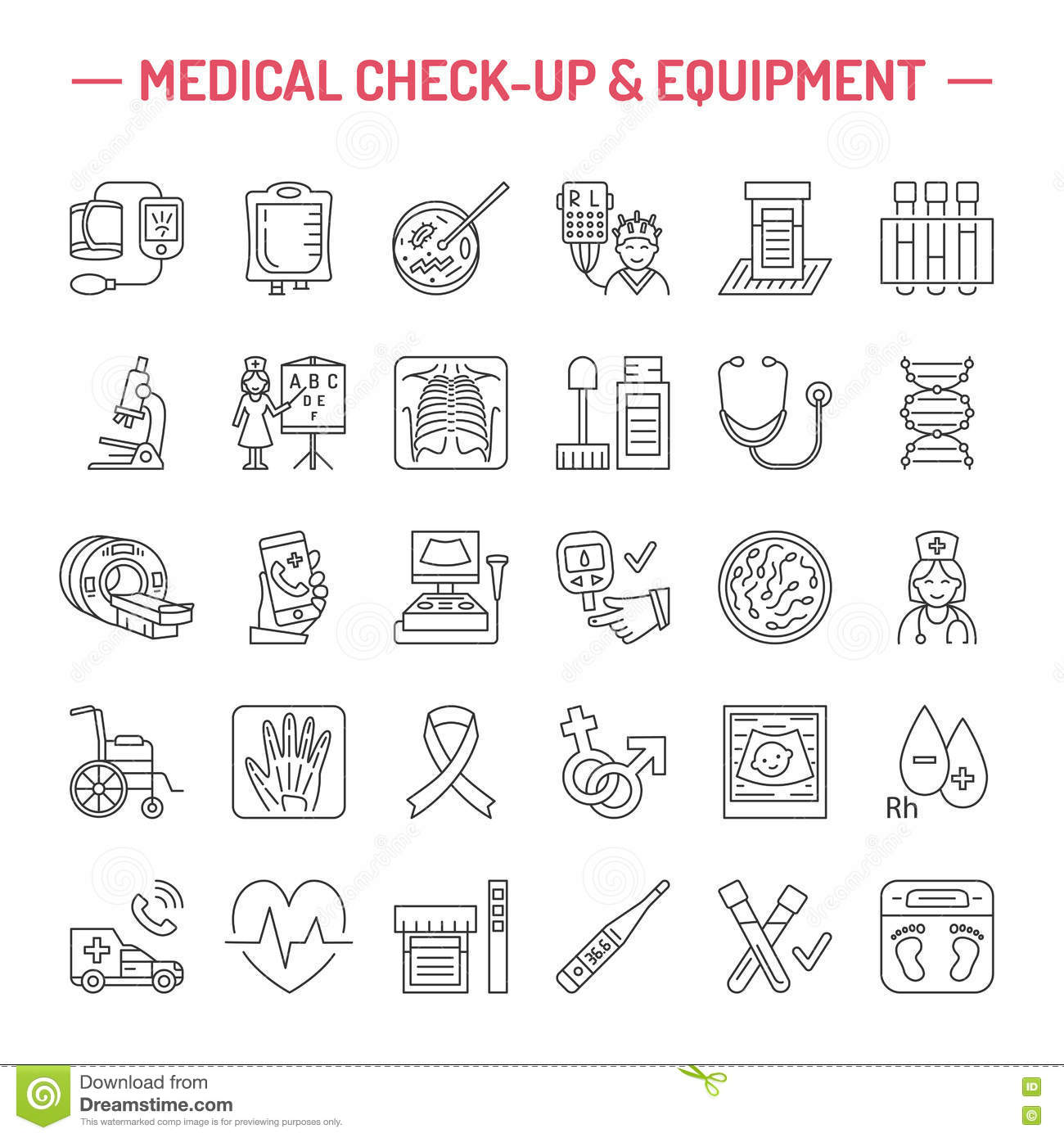vector thin line icon of medical equipment research - 9  images of  rtay s editable