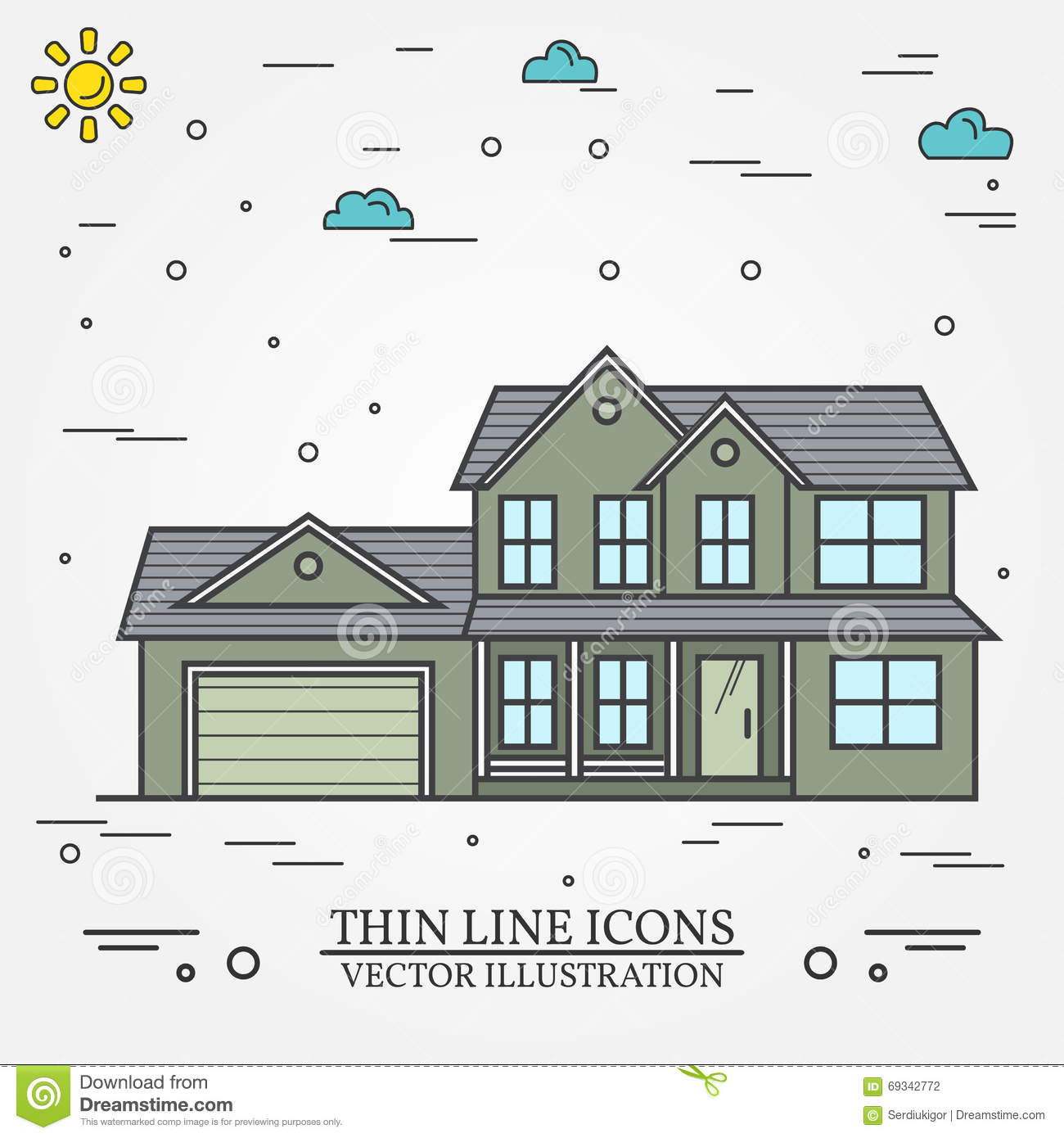 Vector thin line icon suburban american house for web design and application interface also useful for infographics vector dark grey
