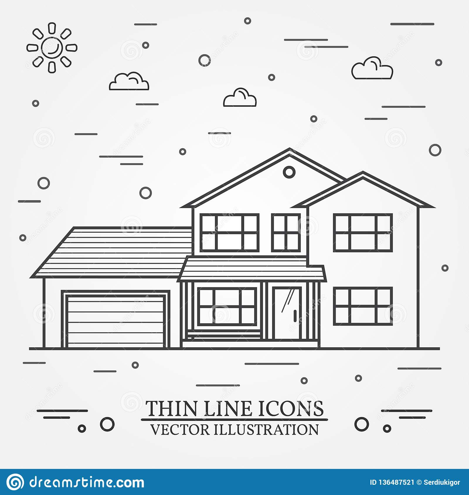 Vector thin line icon suburban american house for web design and application interface also
