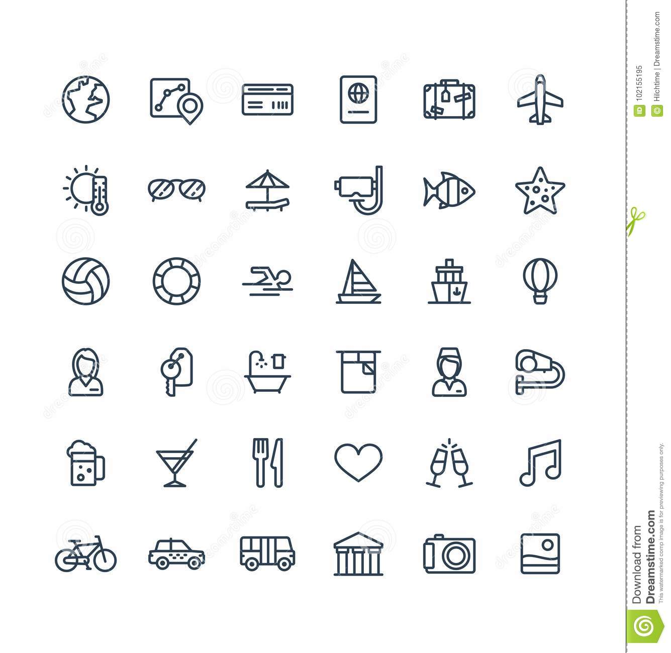 Tourism stock illustrations 280835 tourism stock illustrations vector thin line icons set with travel tourism outline symbols summer vacation hotel biocorpaavc Image collections