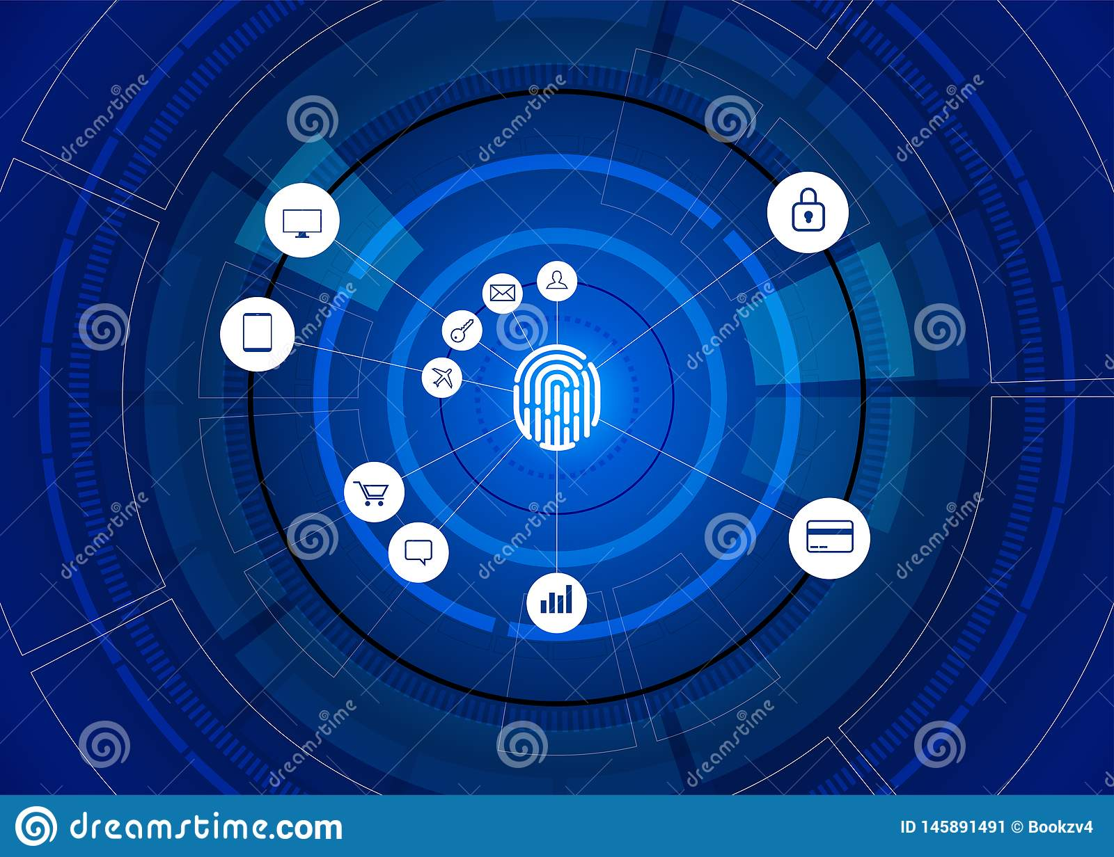 Vector thumbprint icon with functional icon on futuristic wheel. sci-fi background concept for finger scan technology and privacy. Access stock image