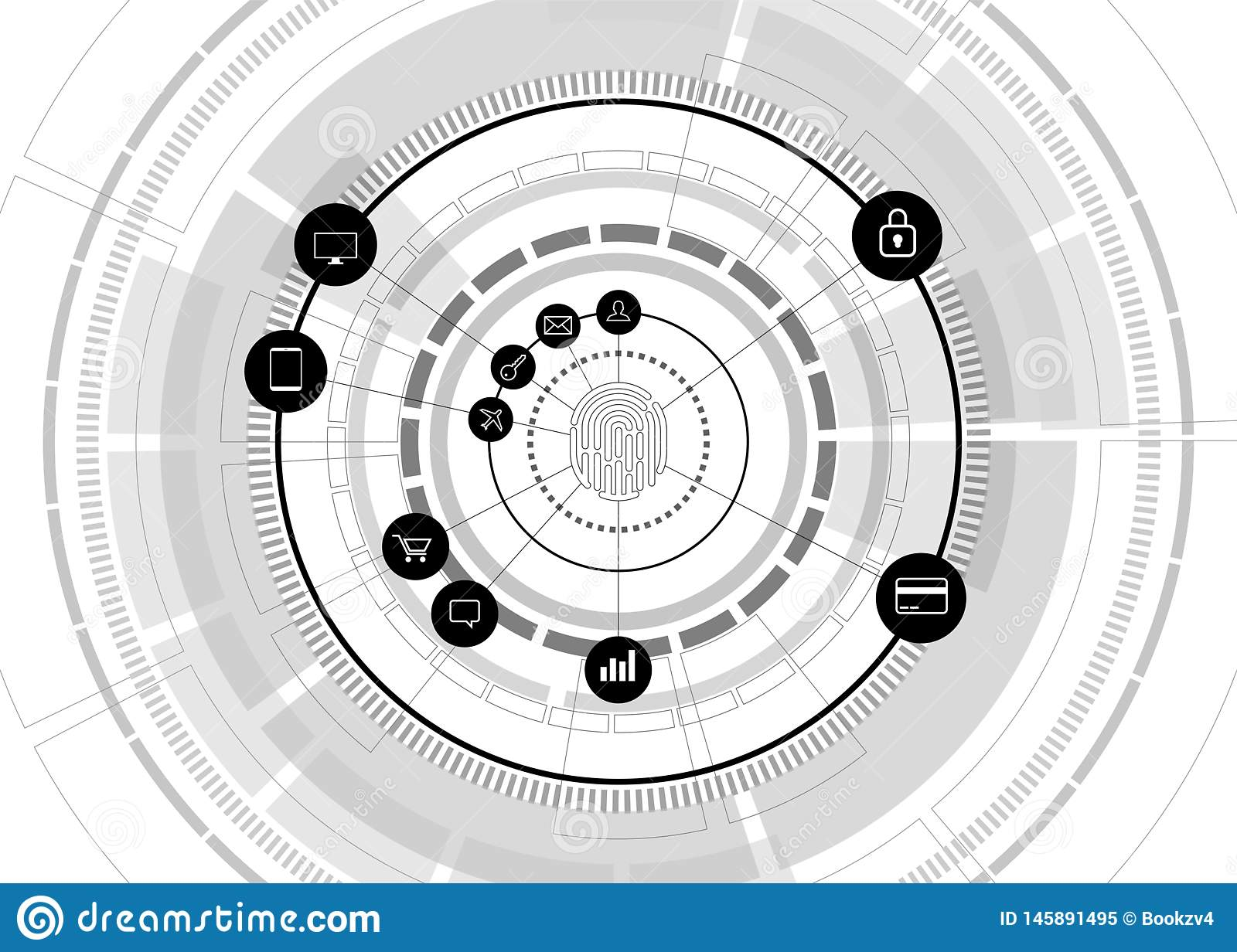 Vector thumbprint icon with functional icon on futuristic wheel. sci-fi background concept for finger scan technology and privacy. Access royalty free stock photo
