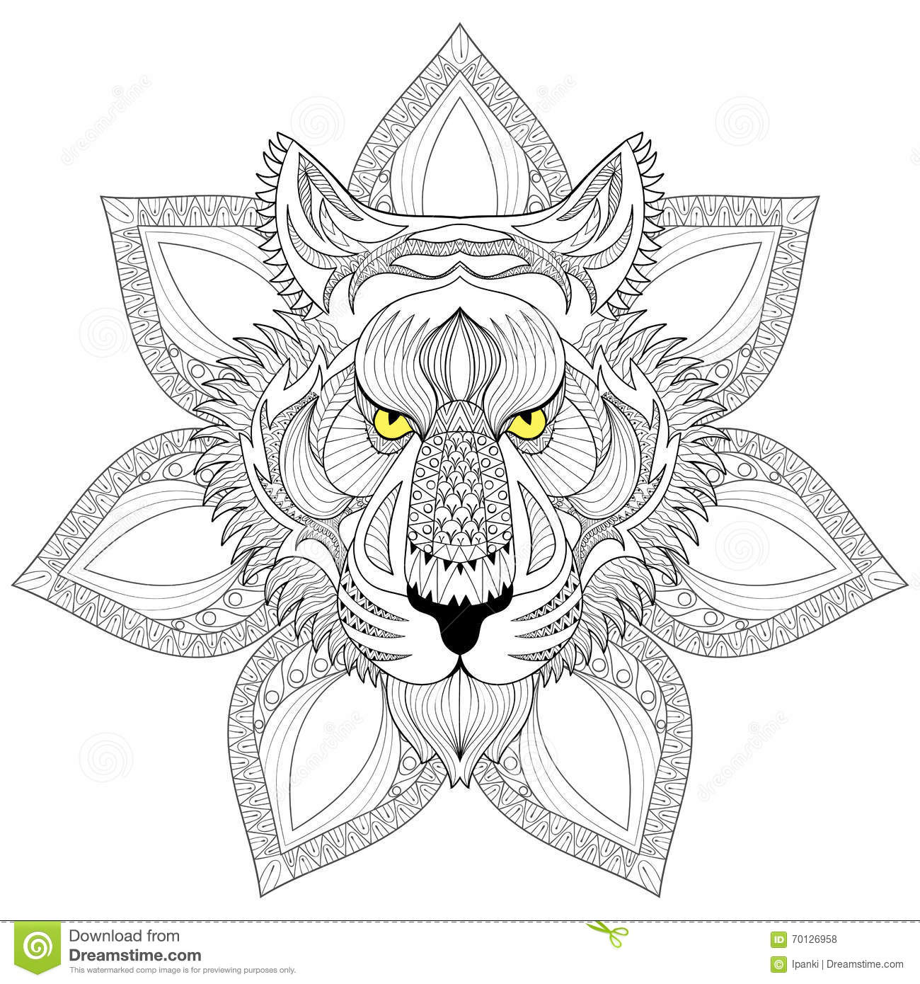 Vector Tiger Zentangle Tiger Face On Mandala Illustration