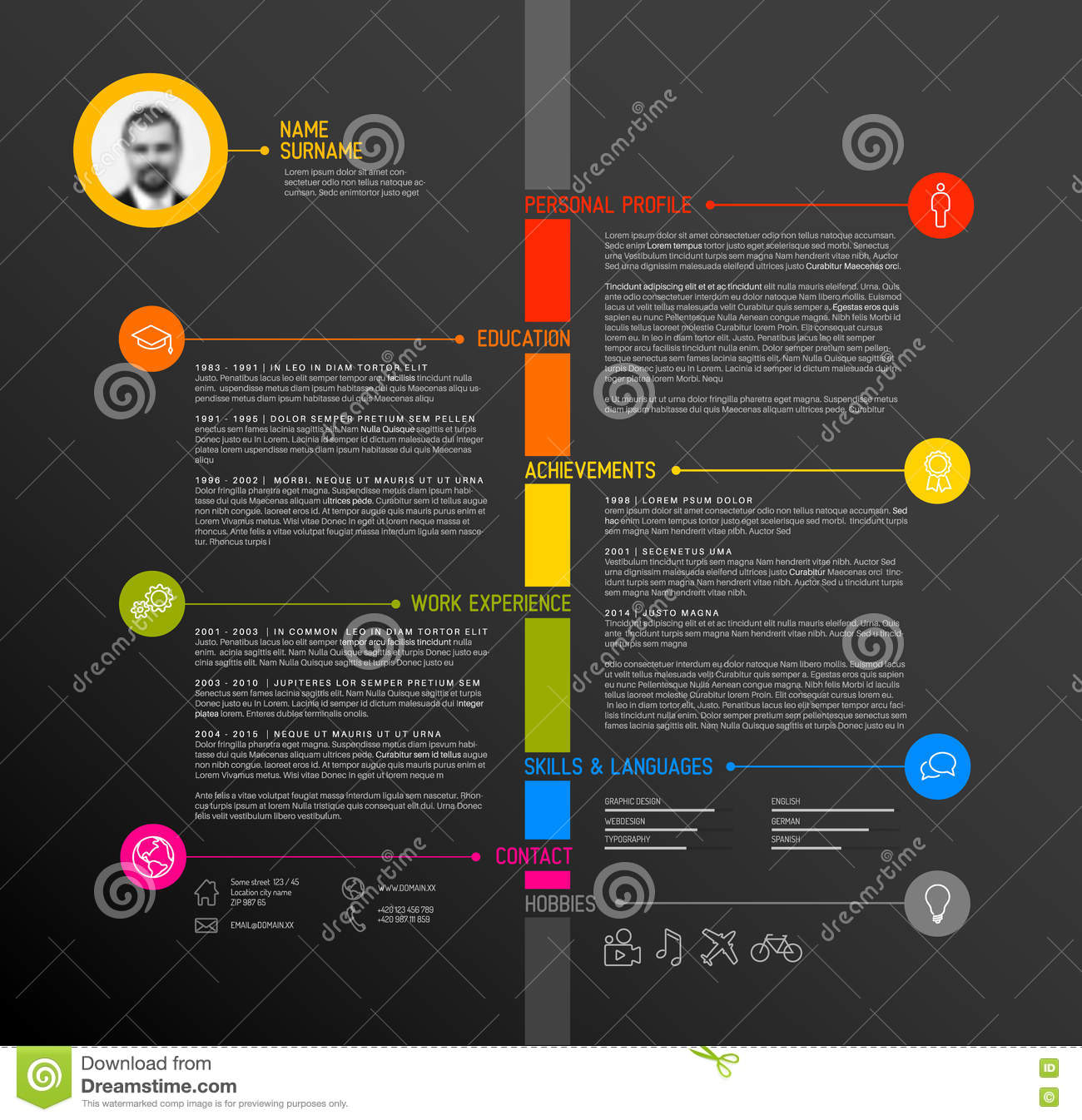 vector timeline minimalist cv resume template royalty free stock photo