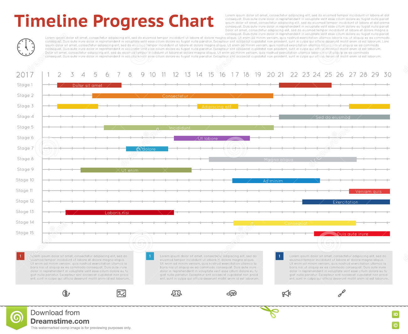Gantt Project Production Timeline Graph Stock Vector - Image: 43118192