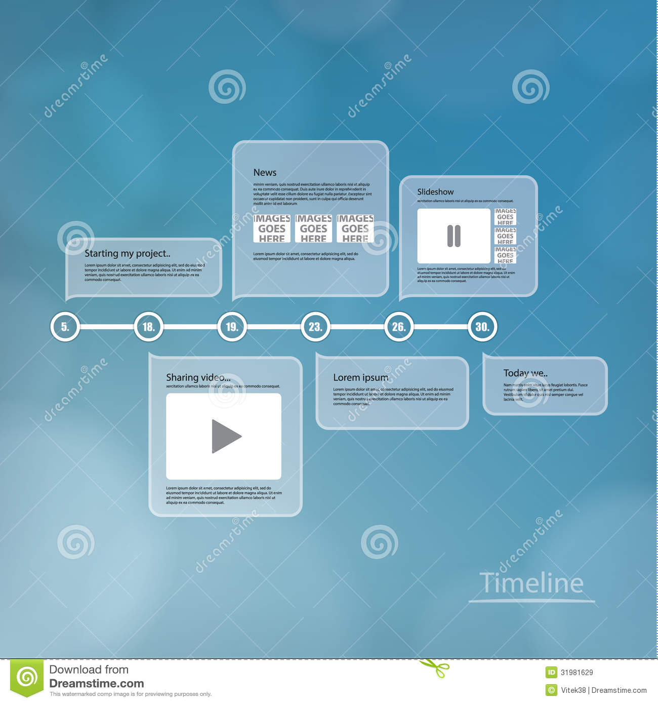 vector timeline template  layout with much space for your conten stock vector