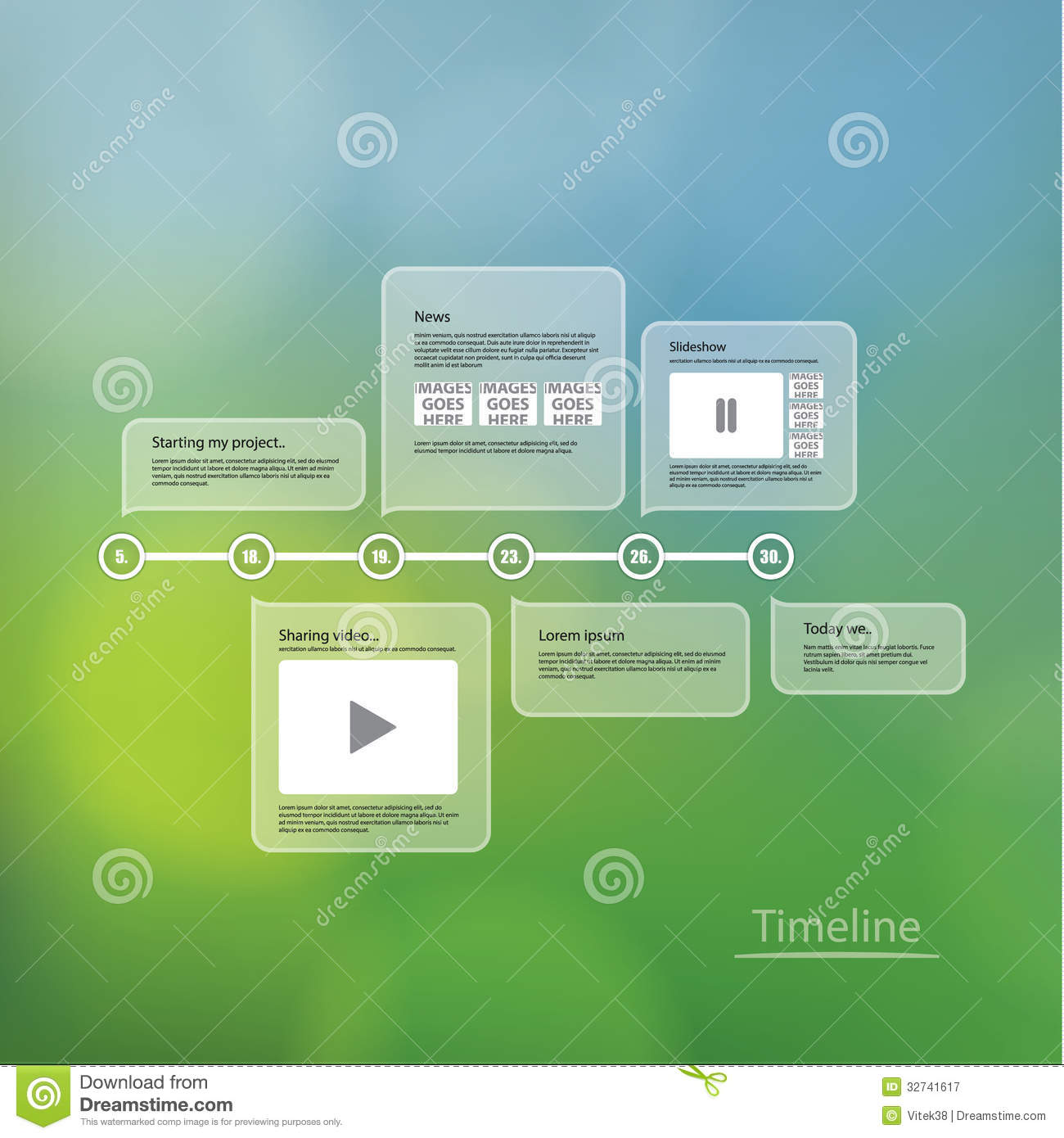 Vector Timeline Template Layout With Much Space For Your Conten – Timeline Website Template