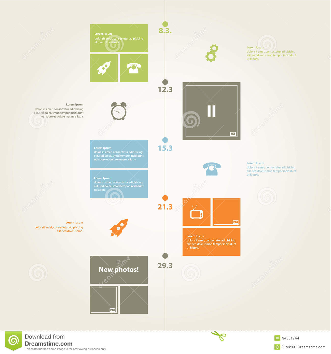 Vector timeline template modern flat design in trendy for Modern flat design