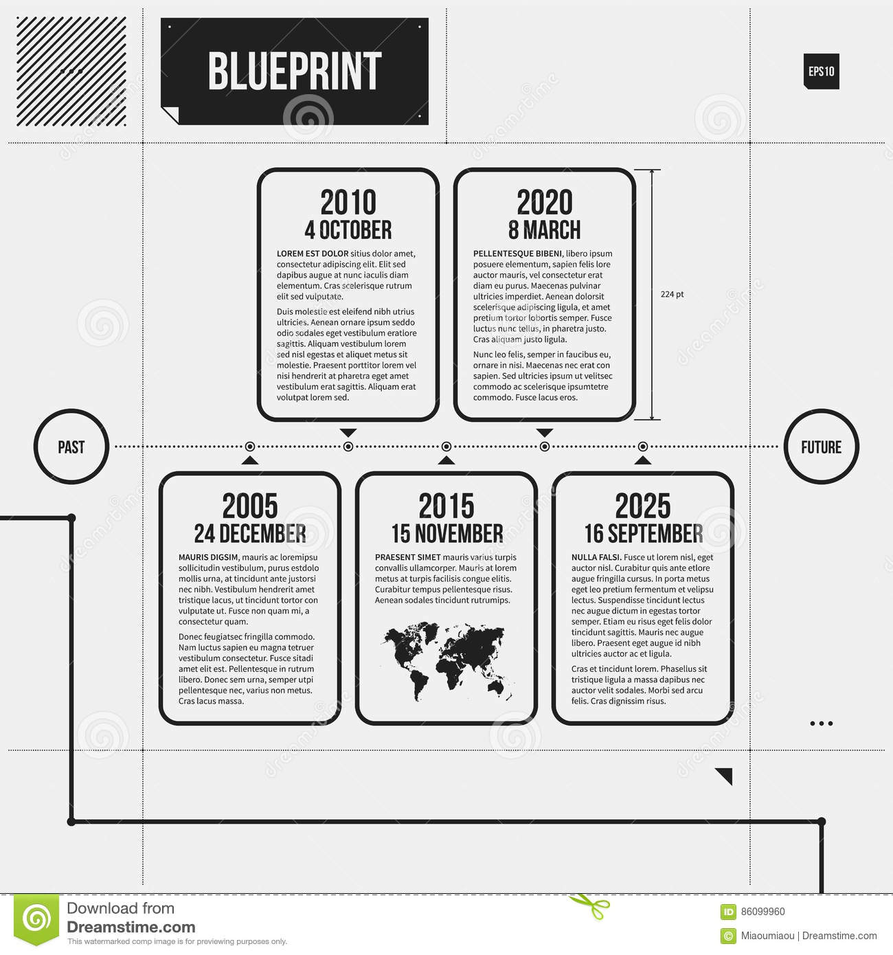 Vector Timeline Template With Rectangle Elements In Draft Style