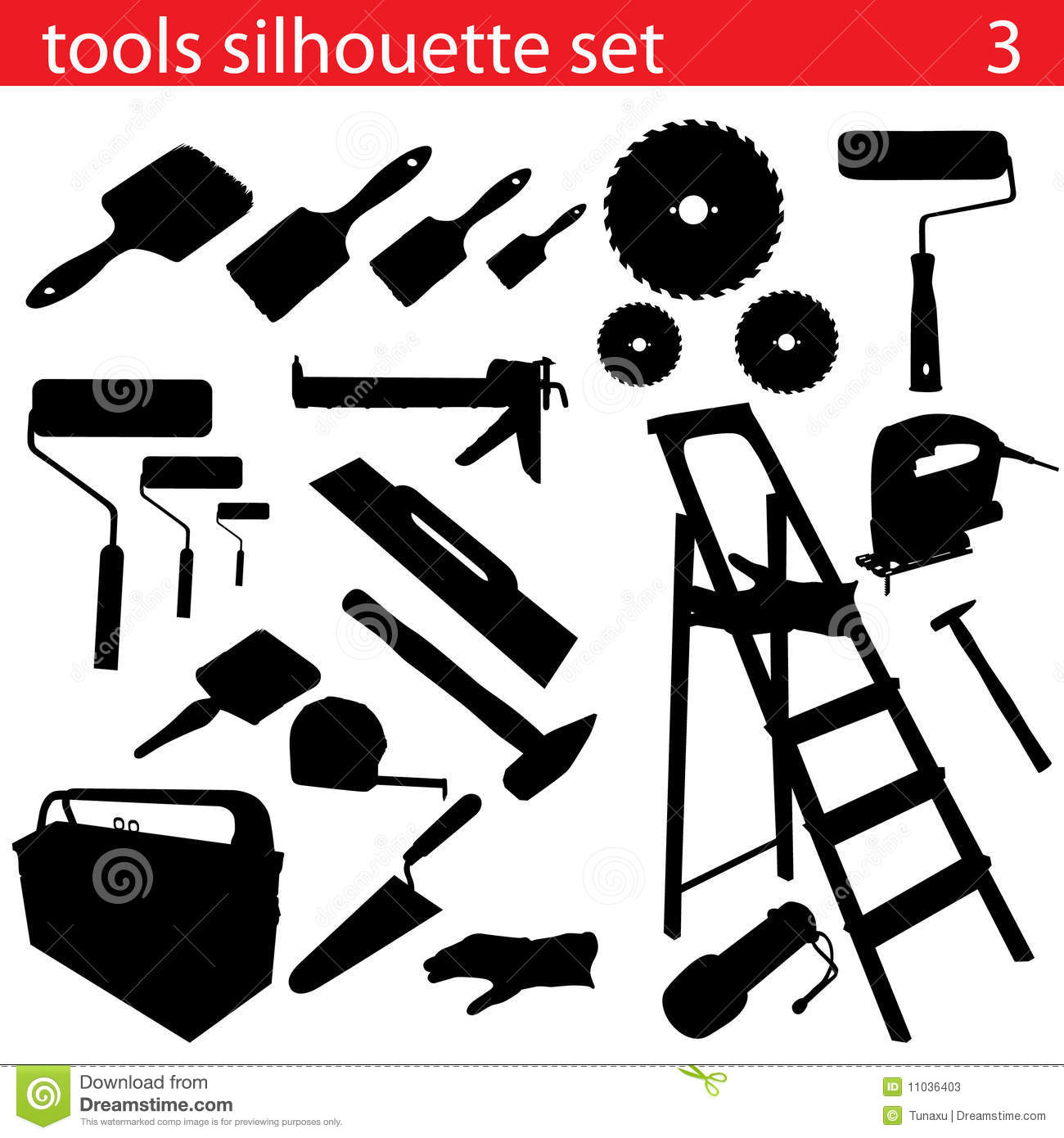 Vector Tools Silhouette Set Stock Vector - Illustration of line, scale: 11036403