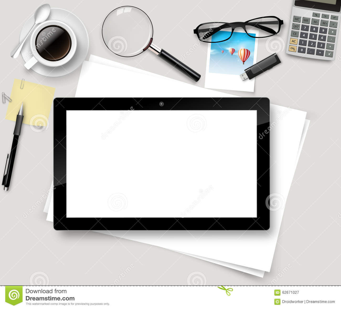 top office table cup. vector top office table with cup of coffee papers pencil tablet t