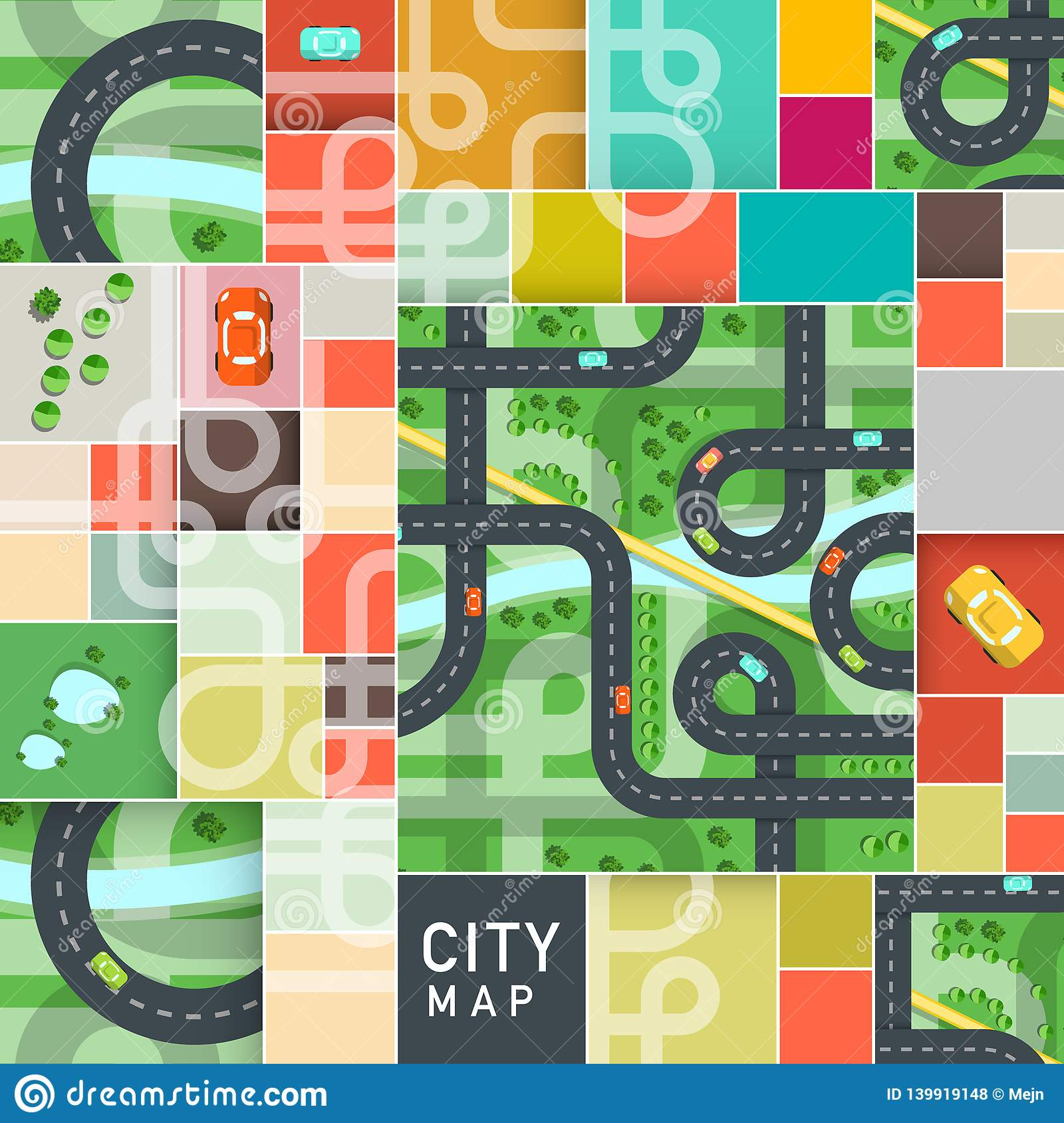 Vector Top View City Map with Roads and Cars