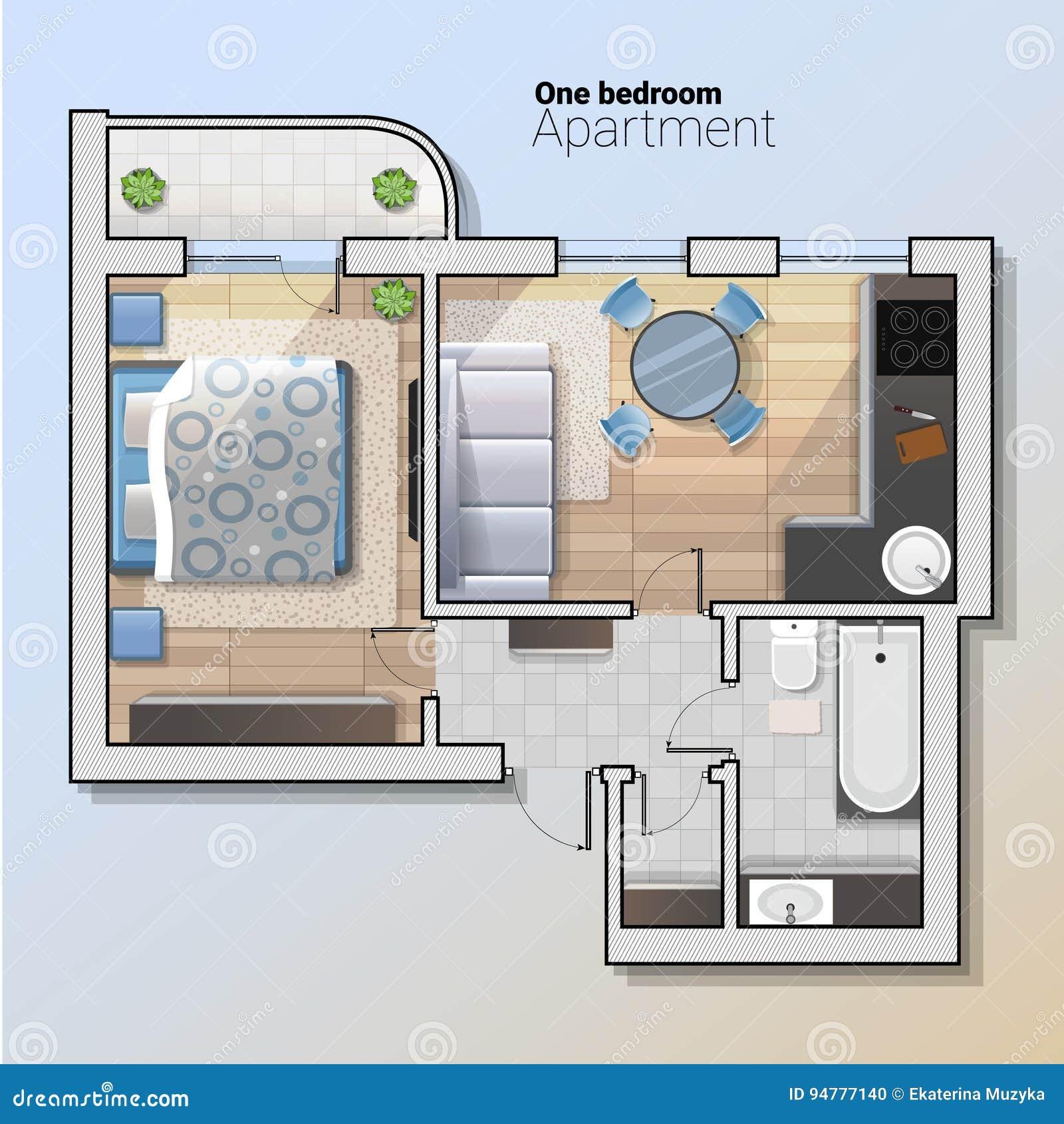 Modern 1 Bedroom Apartment: Vector Top View Illustration Of Modern One Bedroom