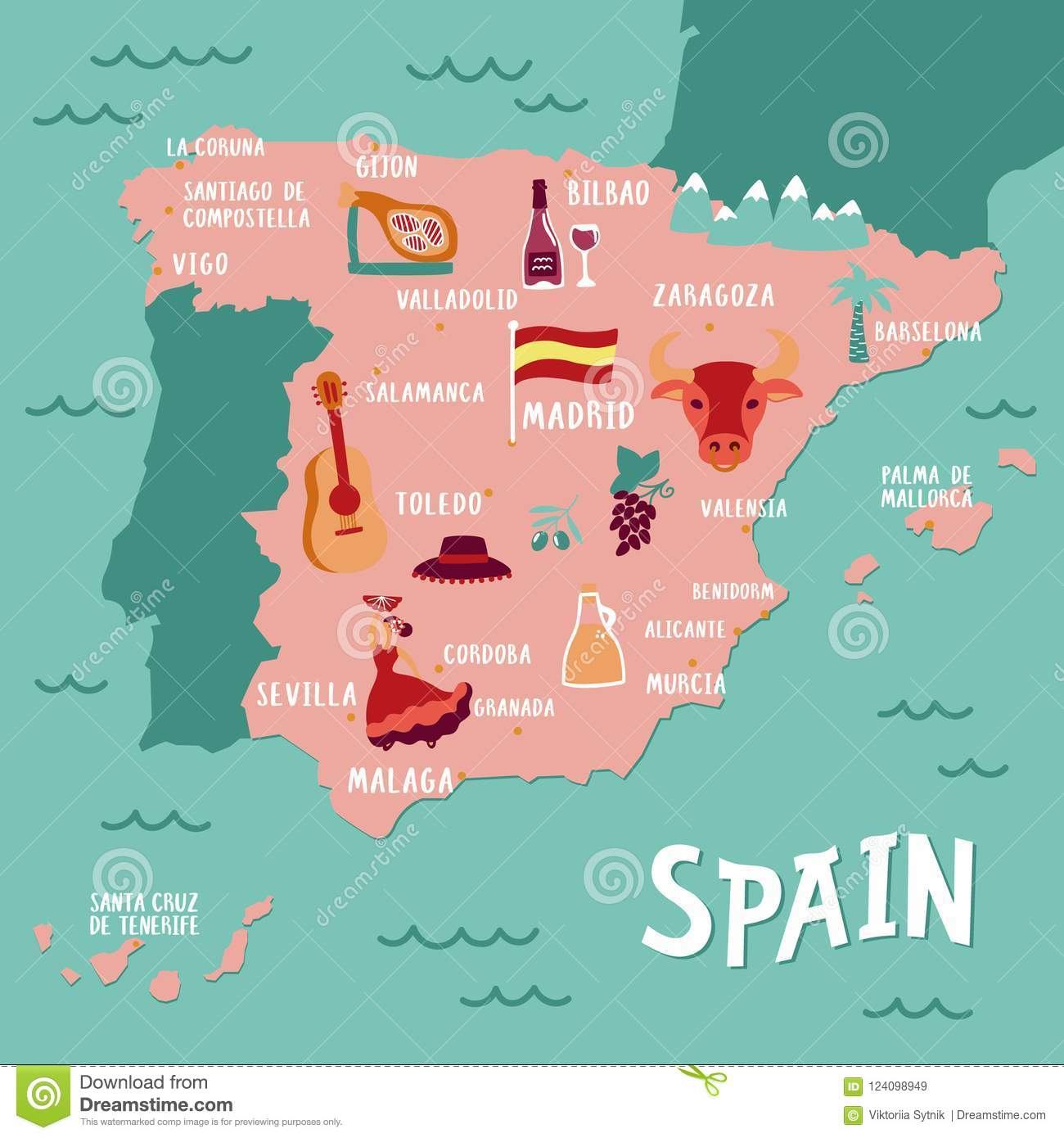 Gijon Spain Map.Vector Tourist Map Of Spain Travel Illustration With Spanish
