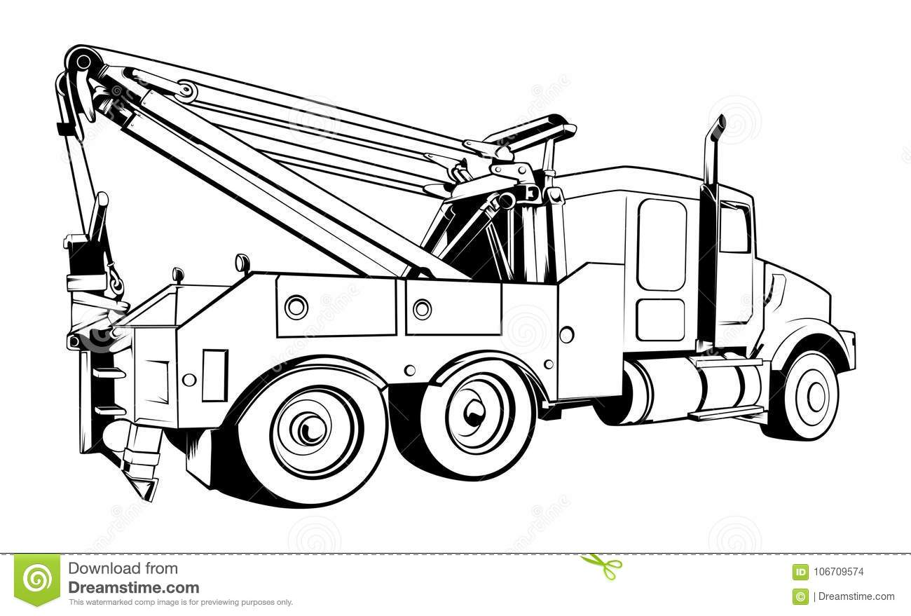 vector tow truck outlined black vector stock vector illustration rh dreamstime com tow truck clipart tow truck clipart images