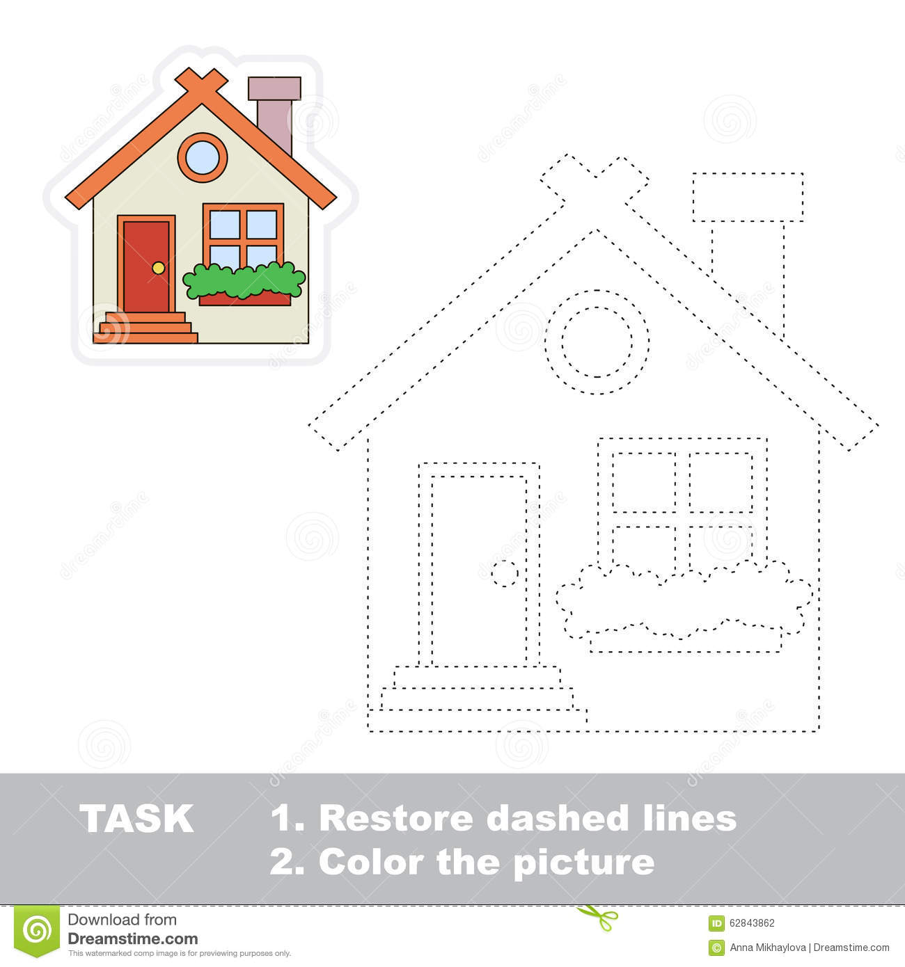 vector trace game small cute house to be traced stock vector