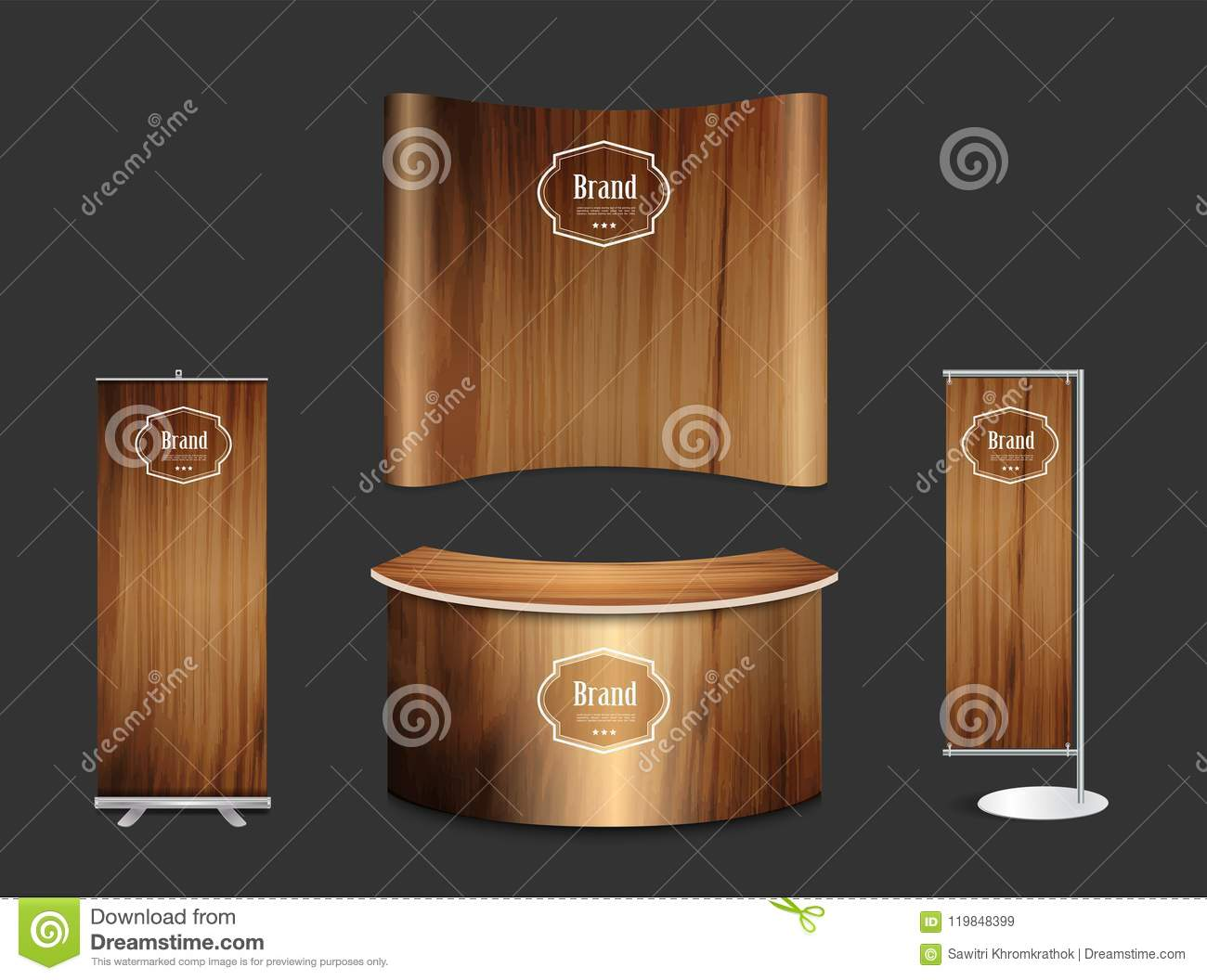 Wood Trade Show Booth : Vector trade show booth exhibition stand with wood texture stock