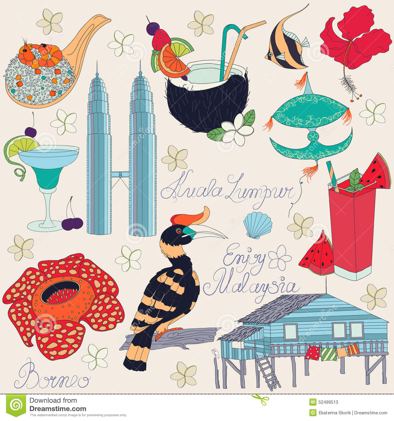 Vector Of Traditional Things In Malaysia Cartoon Vector