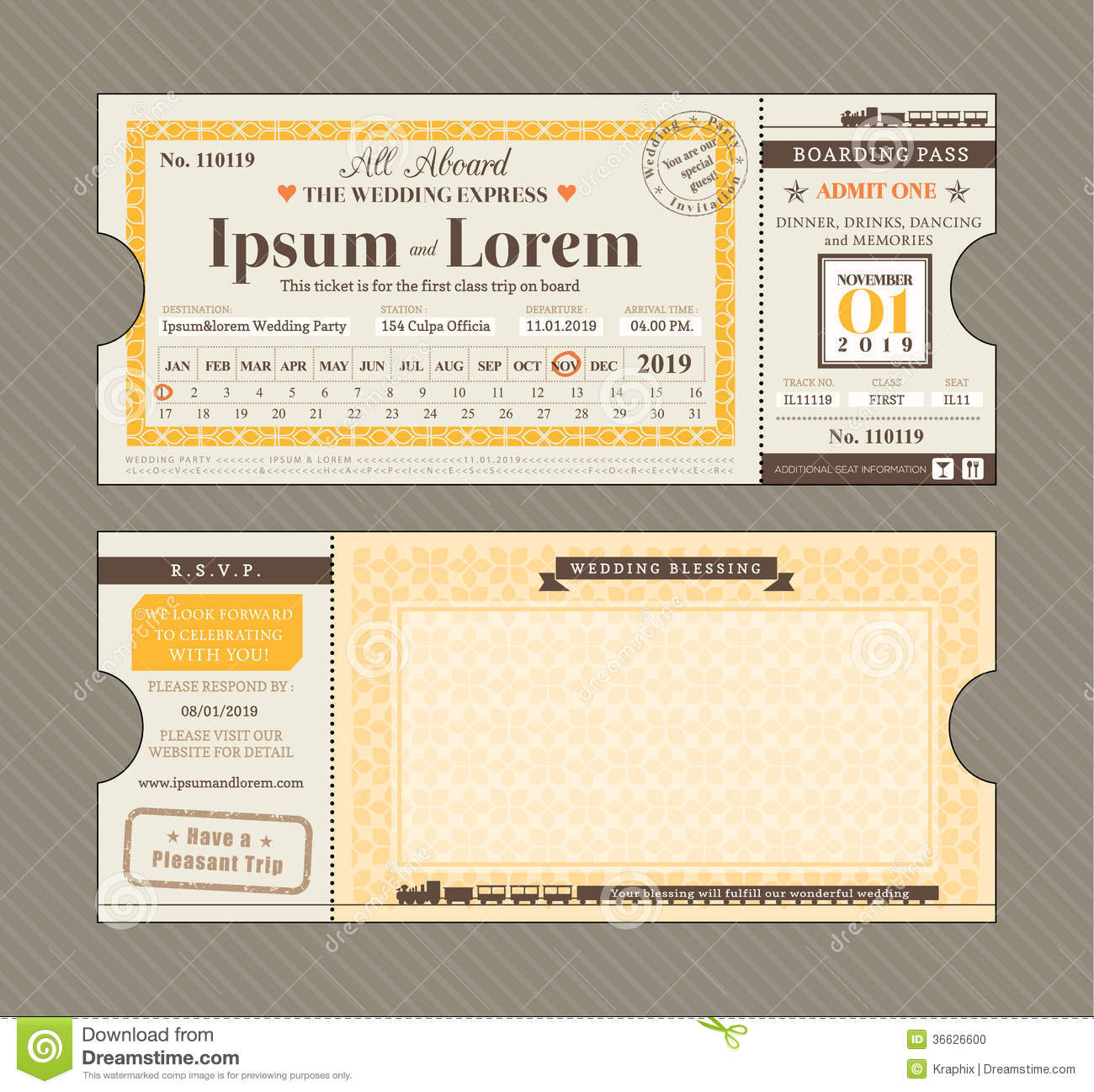 Vector Train Ticket Wedding Invitation Design Template ...