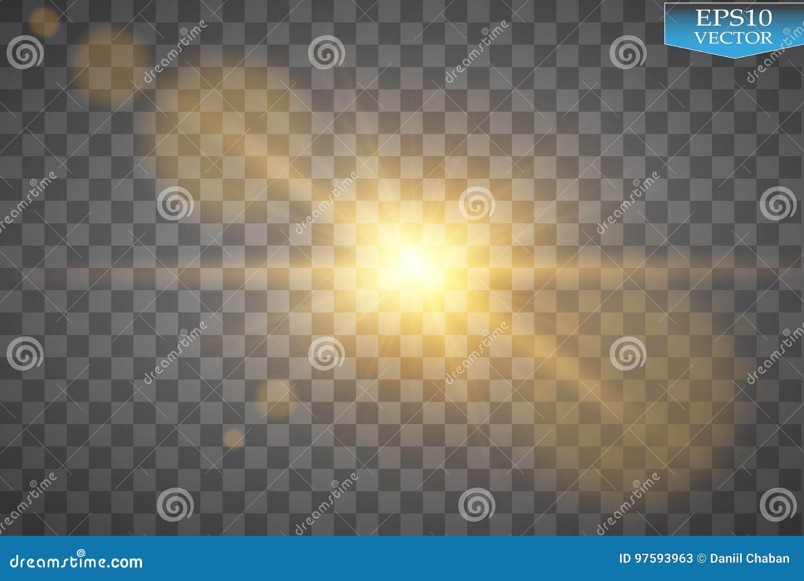 Vector transparant de gloed lichteffect van de zonlicht speciaal lens Zonflits met stralen en schijnwerper